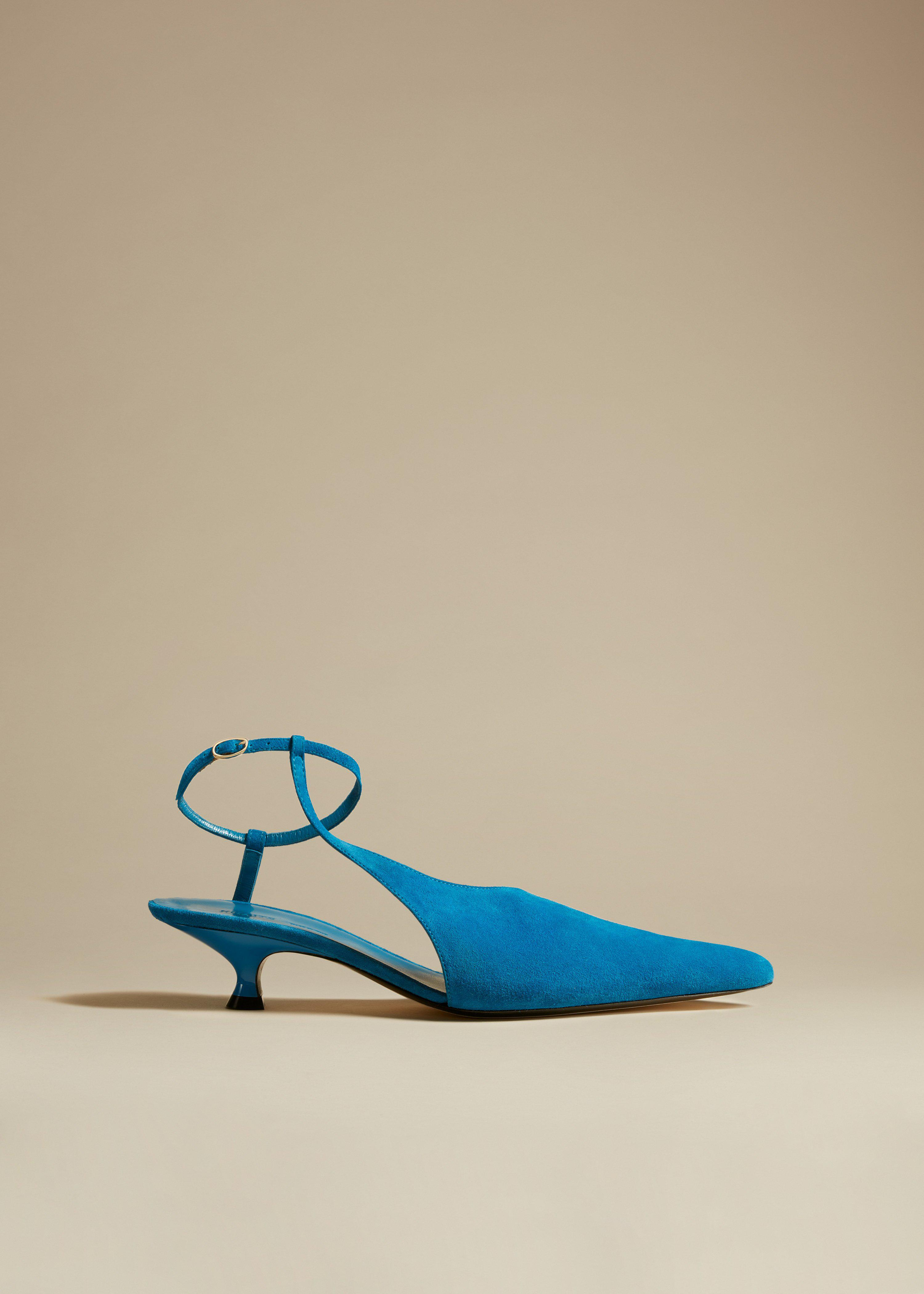 The Seville Pump in Lagoon Suede