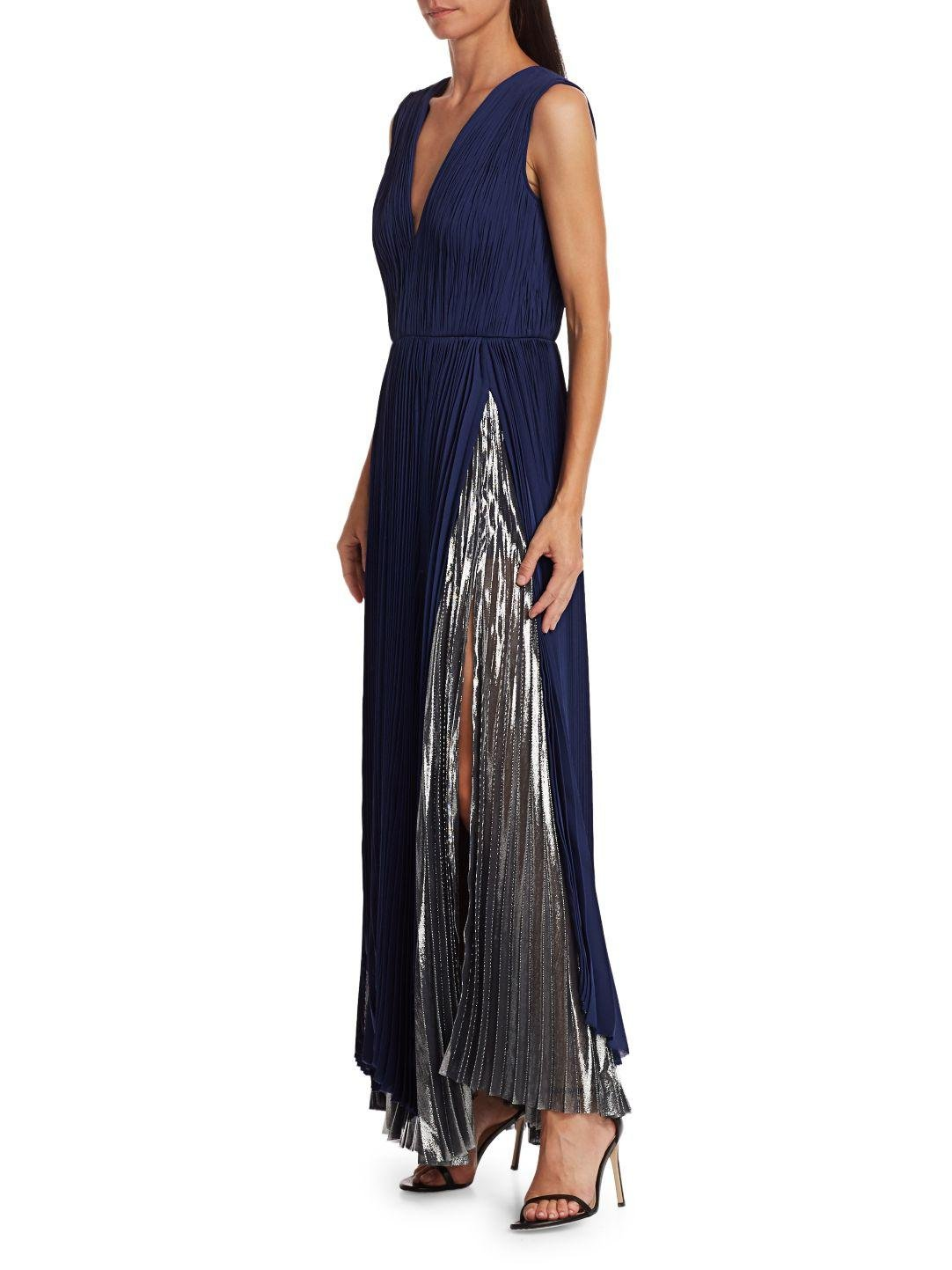 PLEATED METALLIC GOWN 2