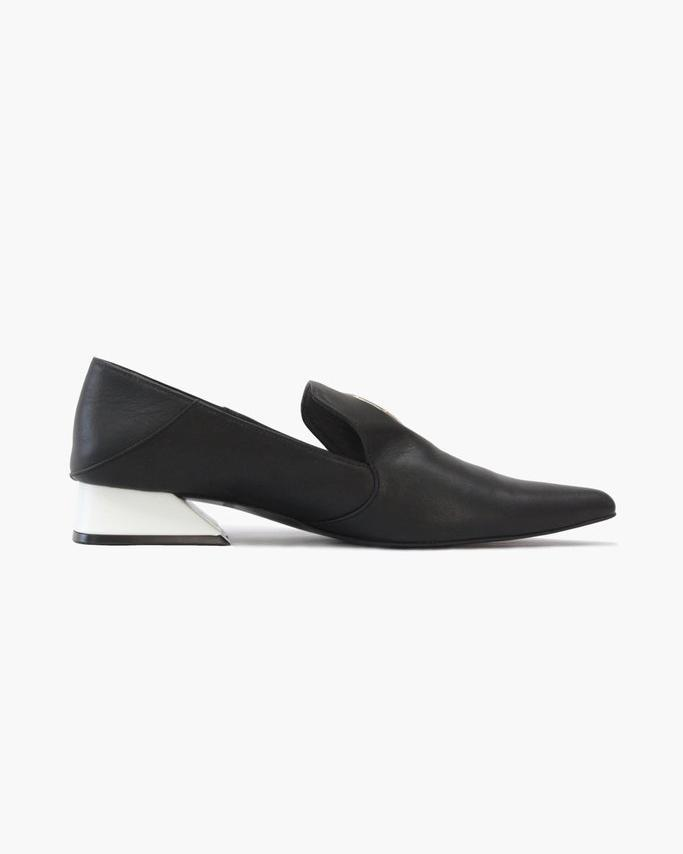 Eyelet Peek-a-Boo Loafer with White Heel Leather Black - SPECIAL PRICE 2