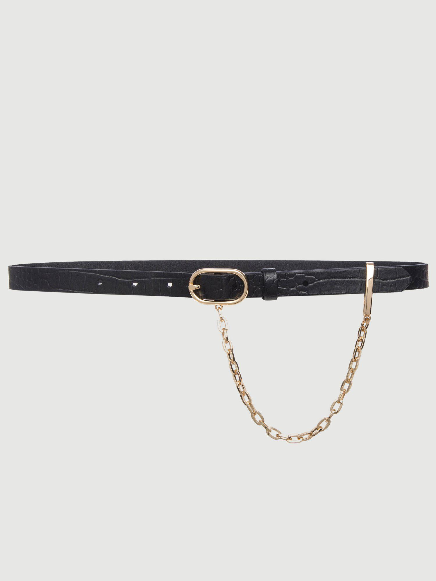 Le Petit Oval Buckle Belt with Chain -- Noir Croco