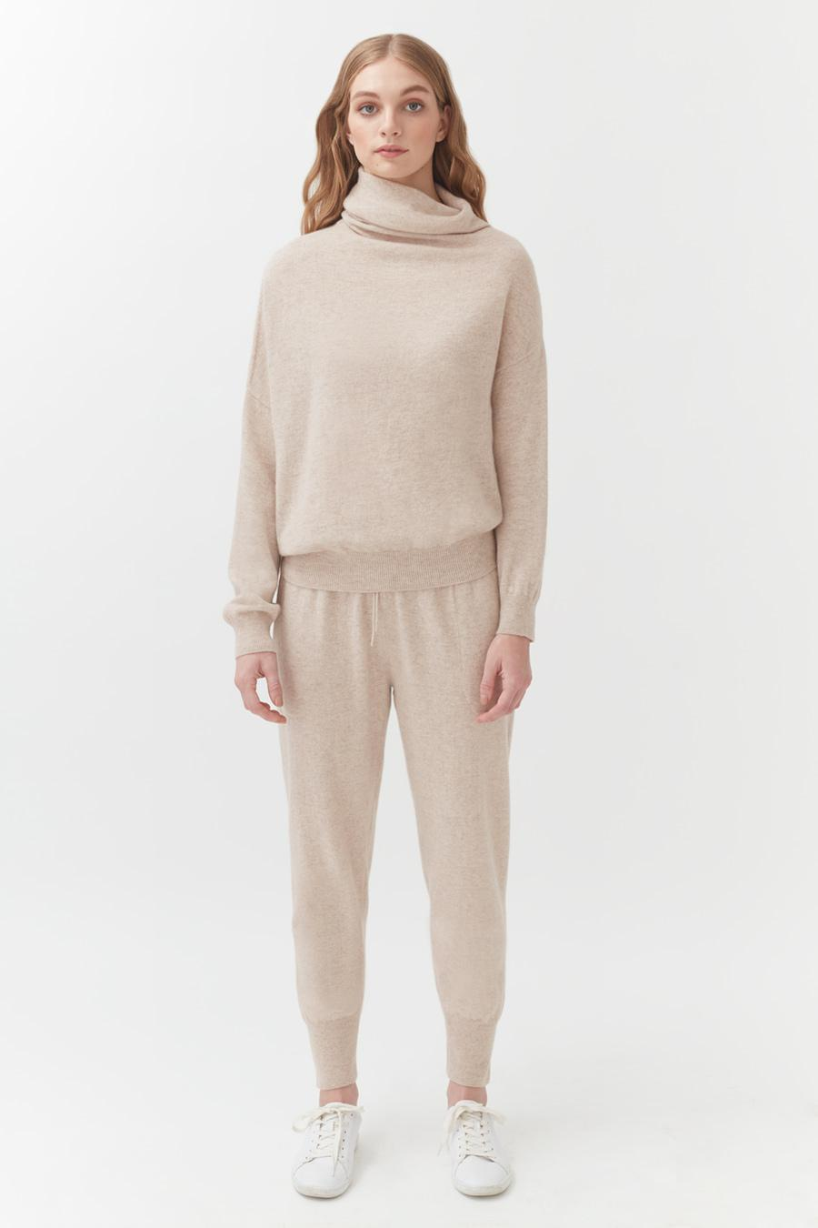 Women's Tapered Pant in Beige | Size: Large | Cashmere by Cuyana 1