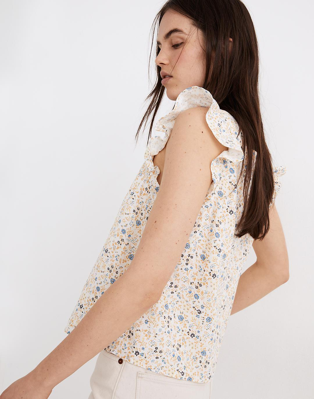 Linen-Blend Ruffle-Strap Button-Up Tank Top in Folkmagic Floral 1