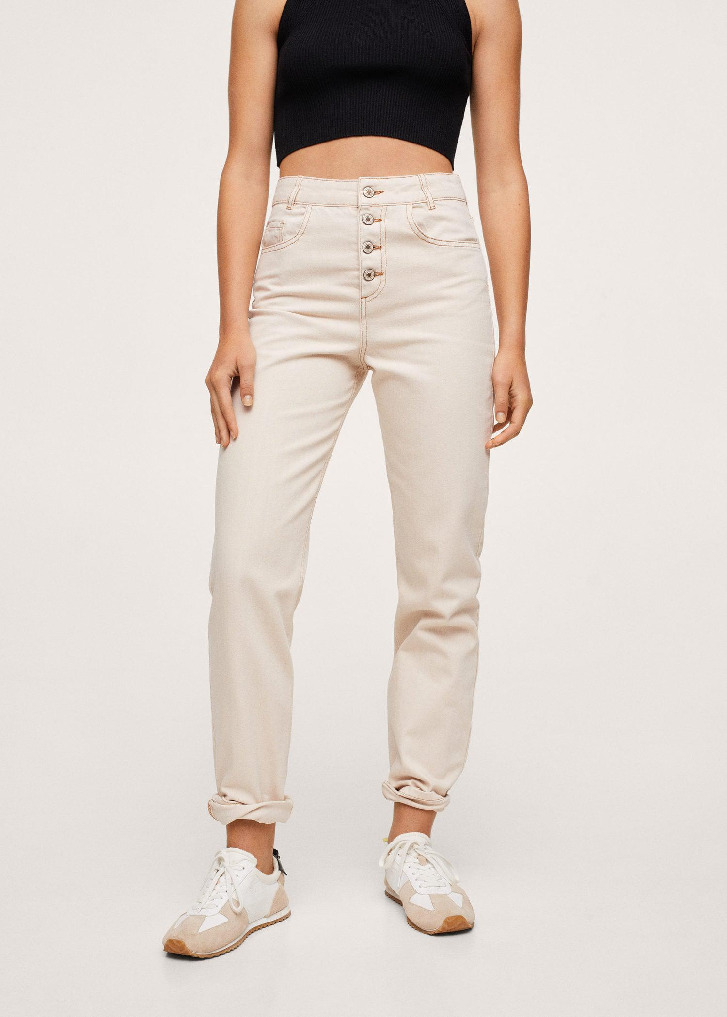 Buttons straight jeans