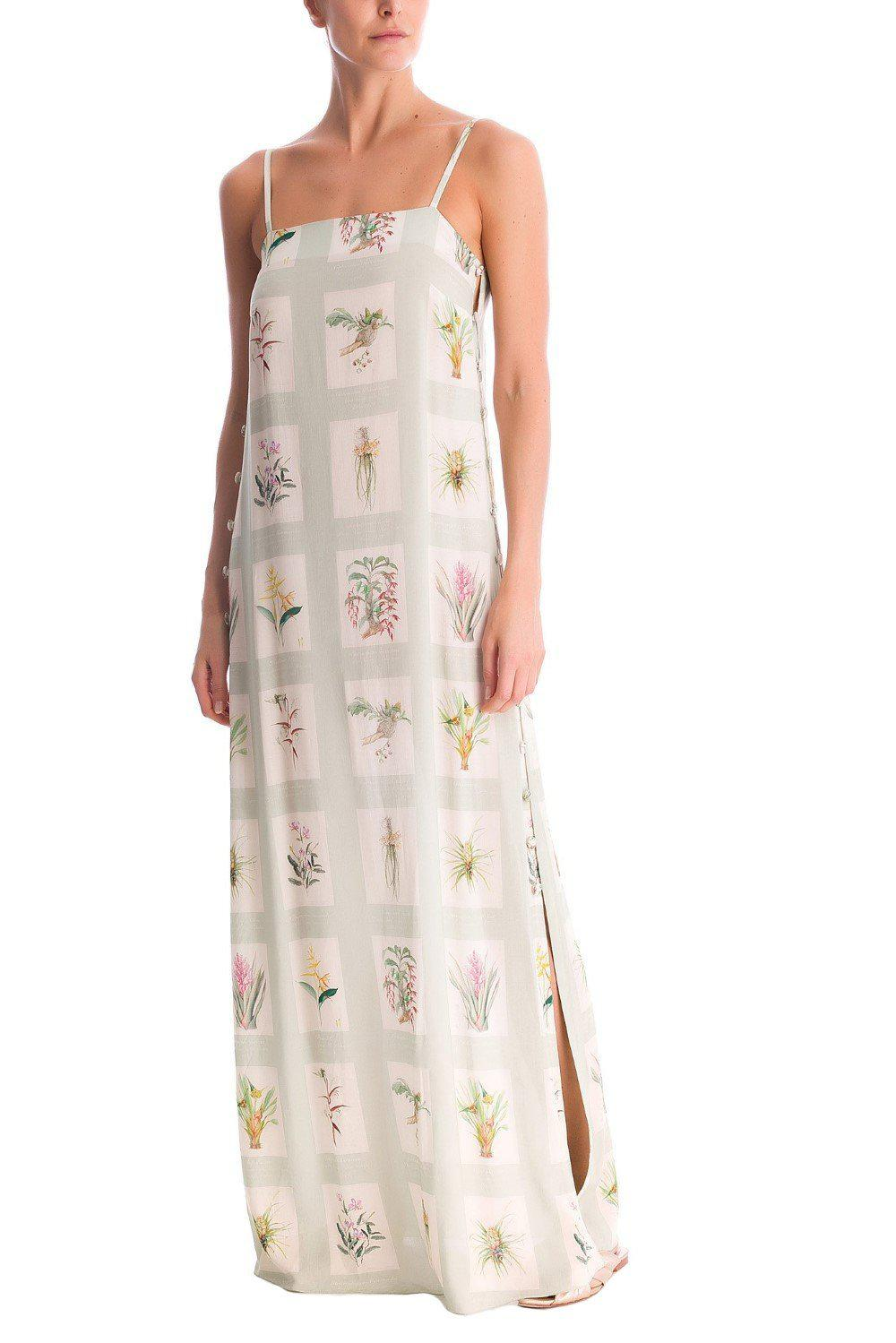 Botanic Long Dress With Side Buttons
