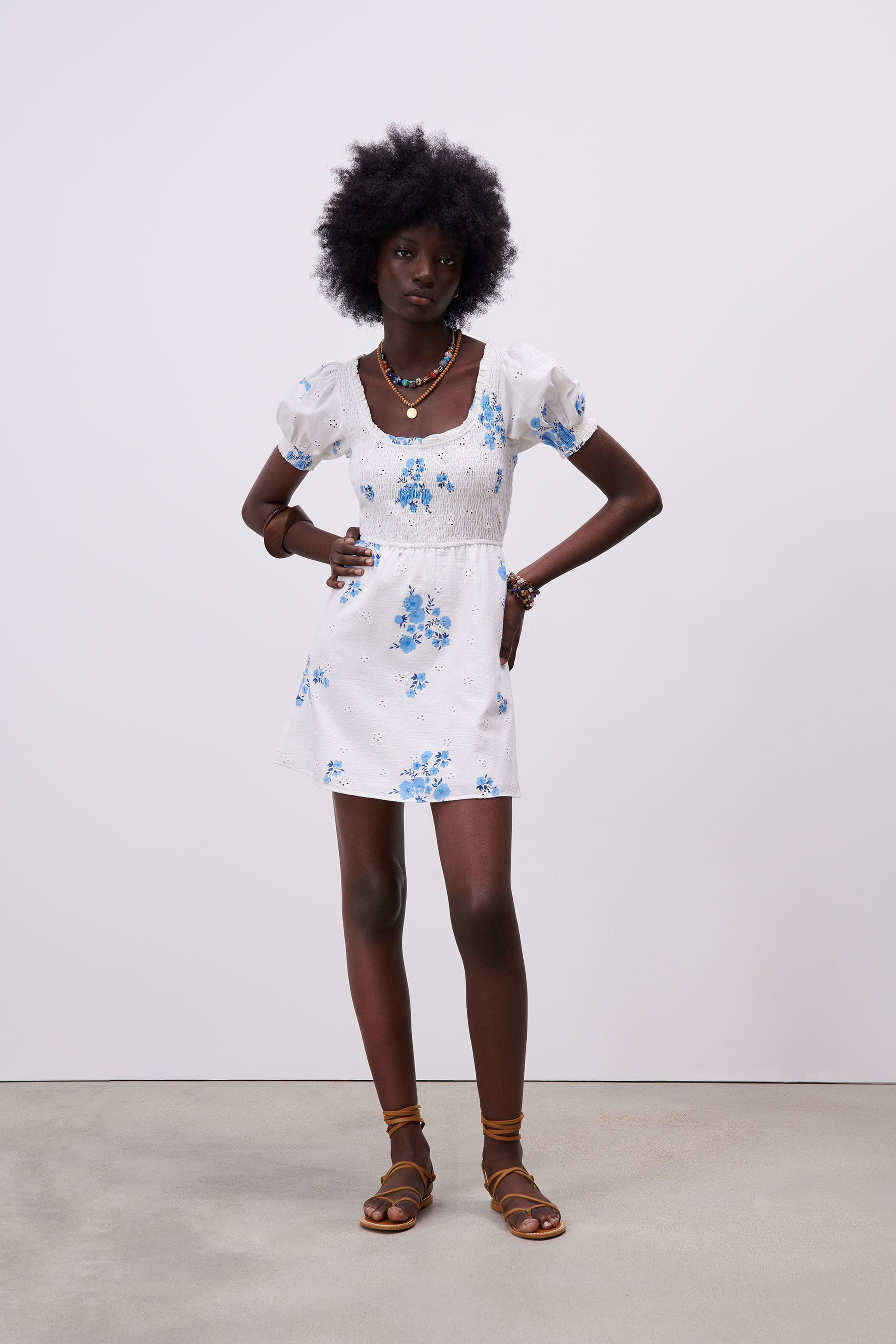 OPENWORK EMBROIDERED FLORAL DRESS