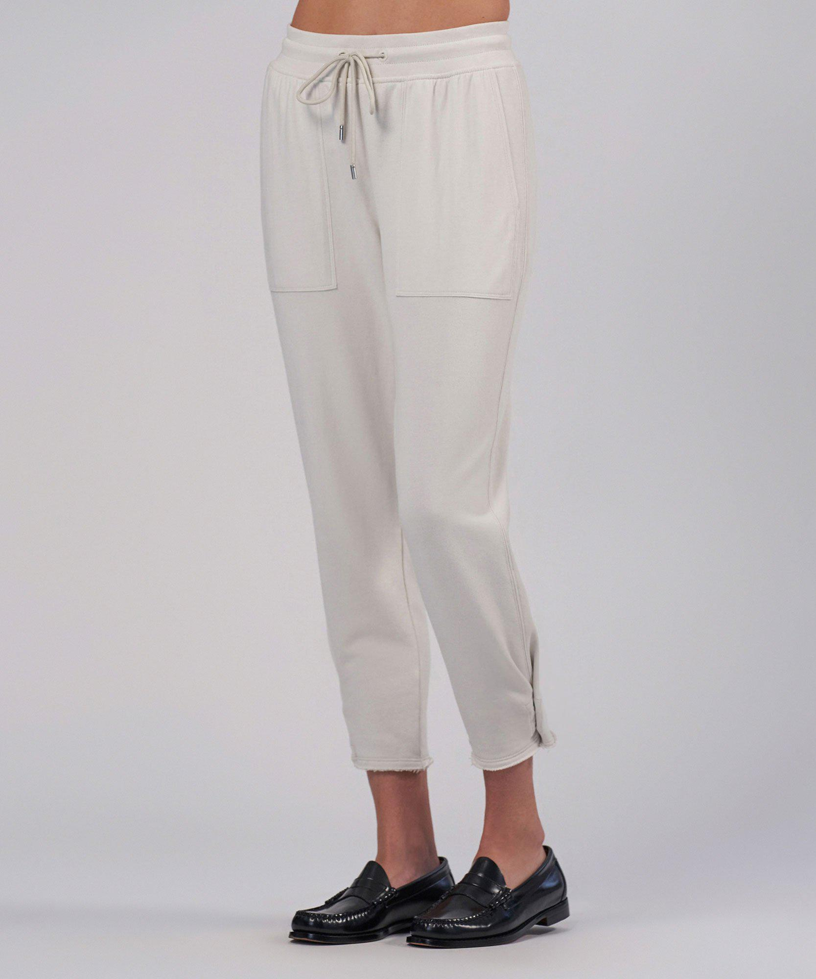 French Terry Pull-On Cropped Pant - Gesso