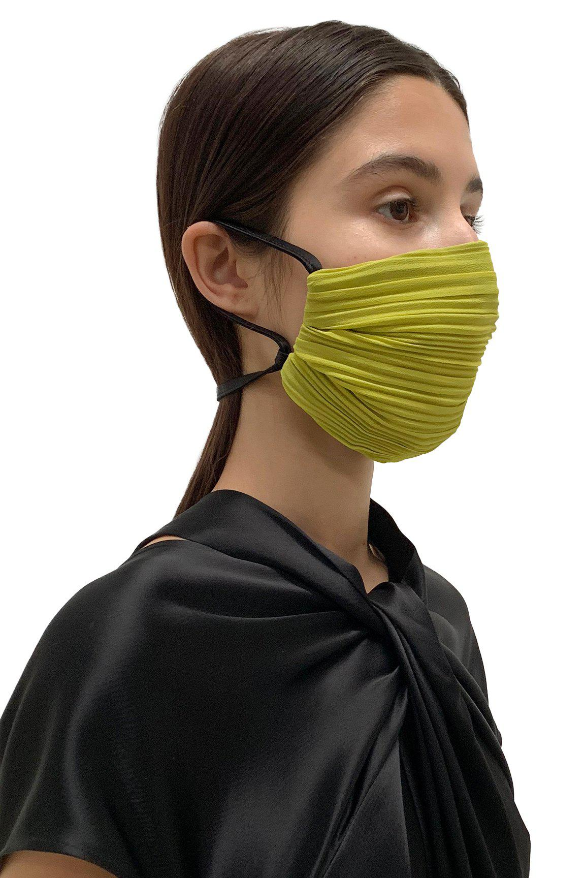 Chartreuse Pleated Face Masks 1