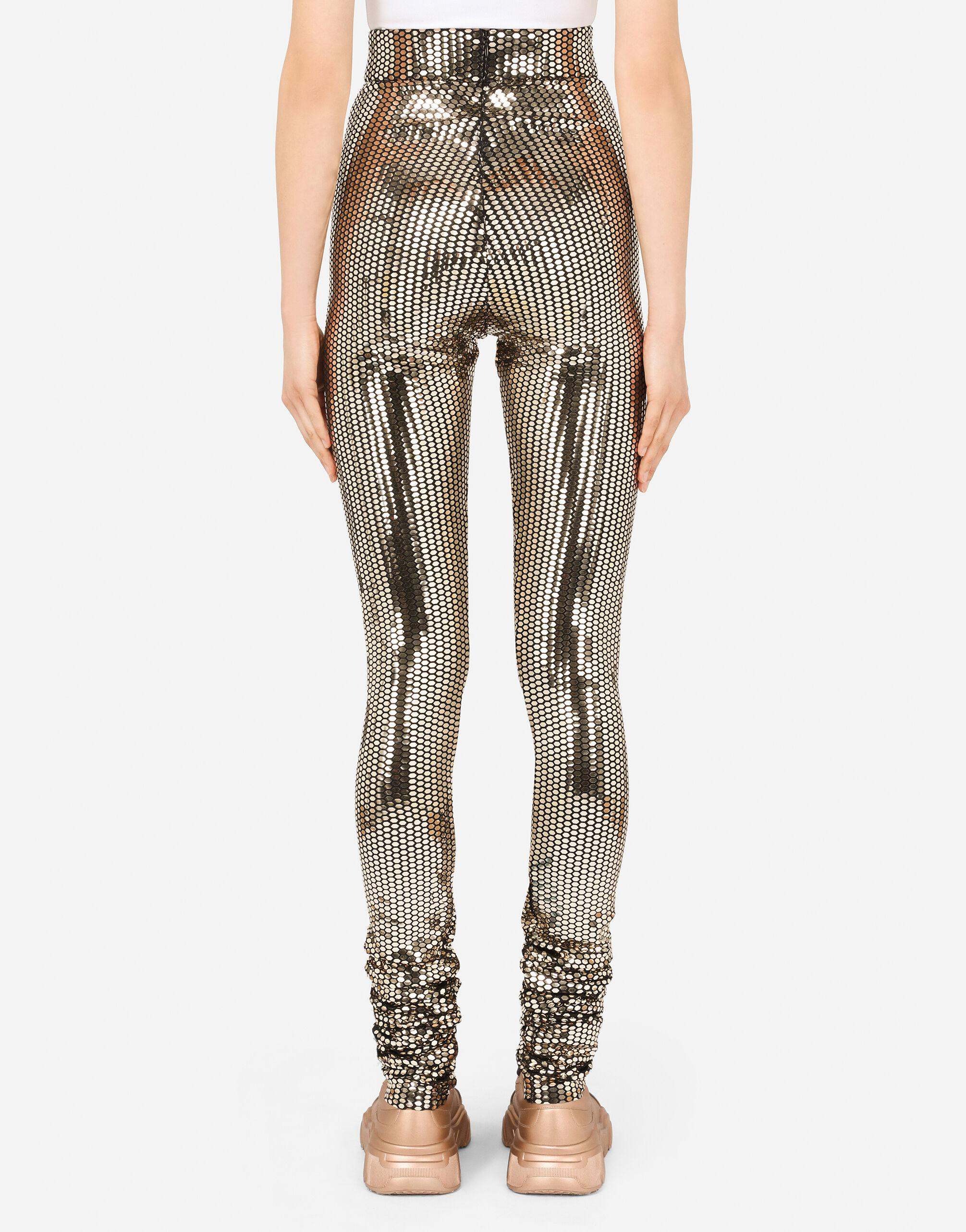 Foiled jersey leggings with draping 1