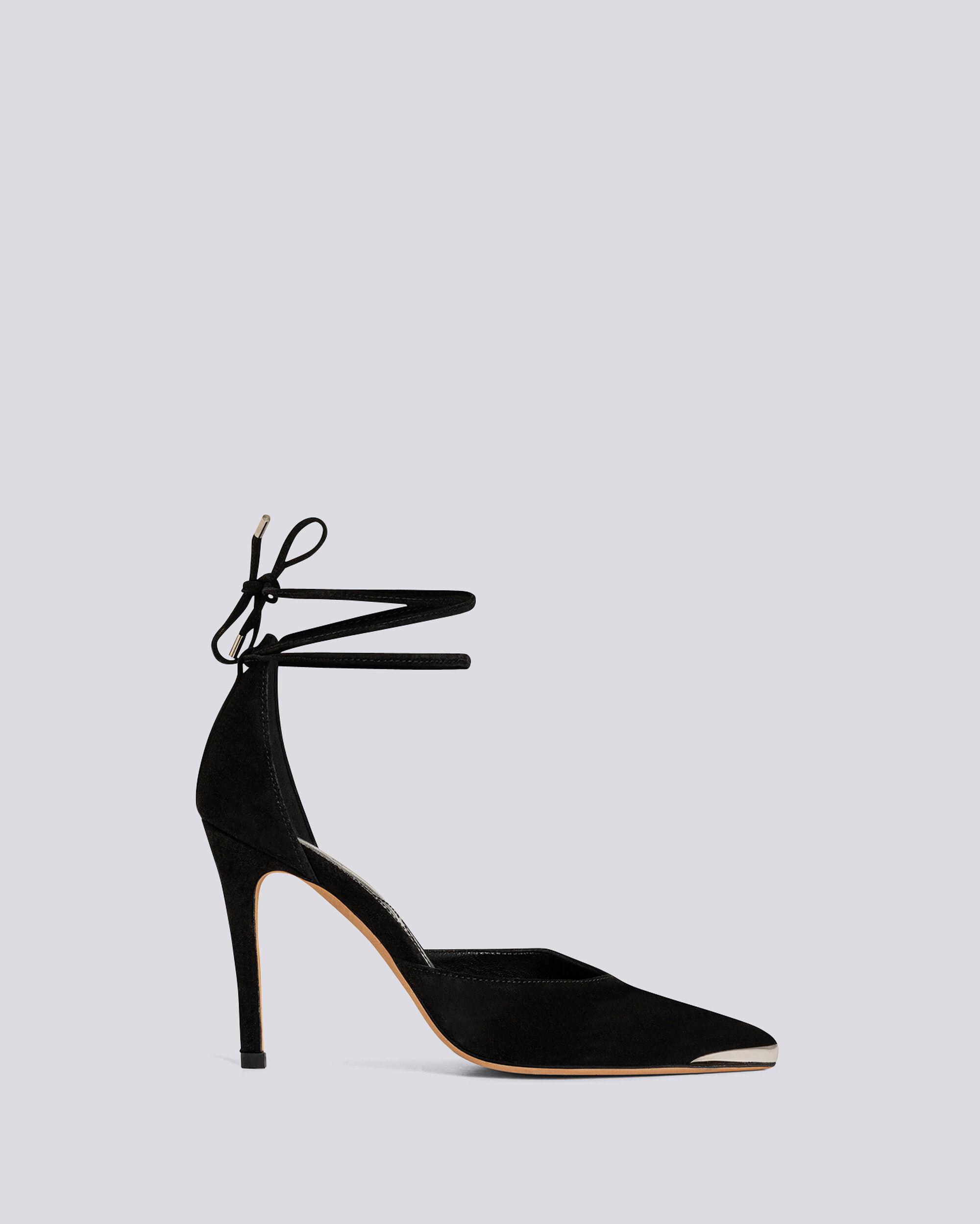 MIFAL SUEDE POINTED TOE ANKLE TIE PUMPS