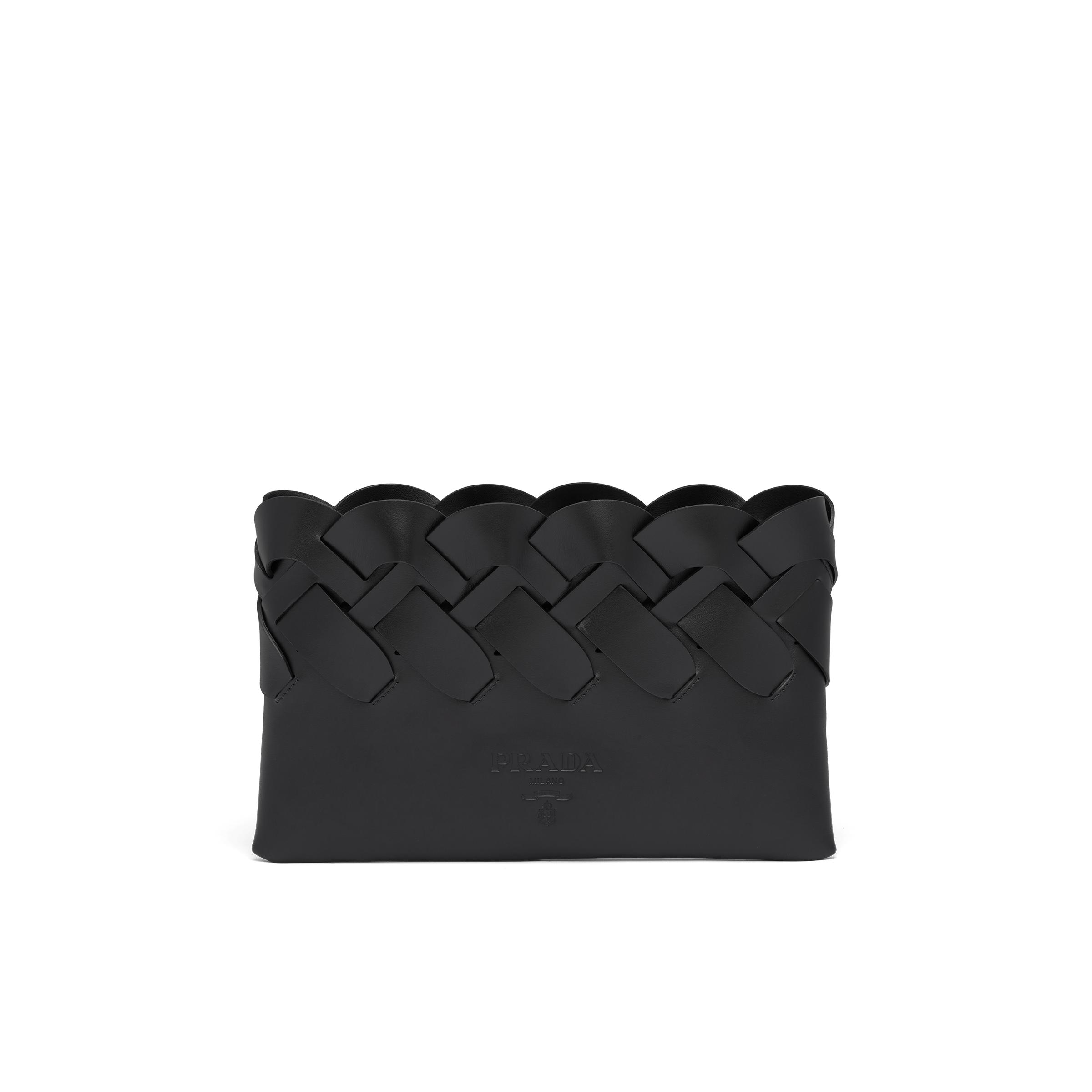 Tress Leather Clutch With Large Woven Motif Women Black
