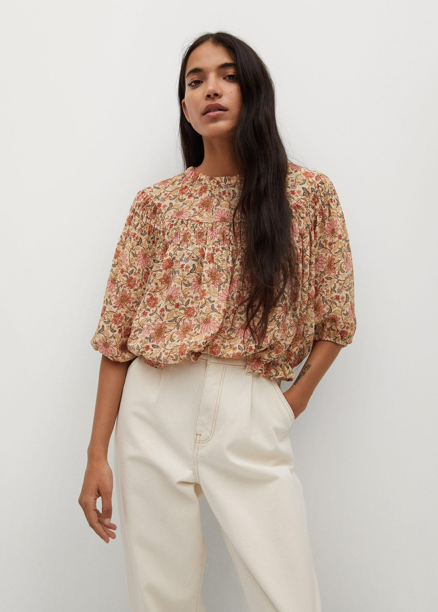 Textured printed blouse