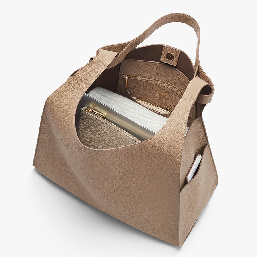 Women's Oversized Double Loop Bag in Cappuccino | Pebbled Leather by Cuyana 3