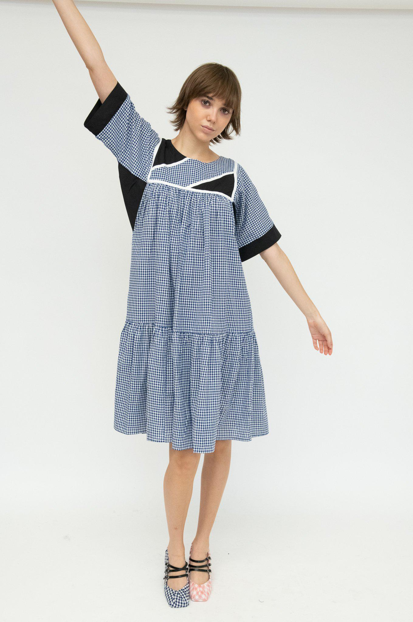 Housedress in Patchwork Gingham
