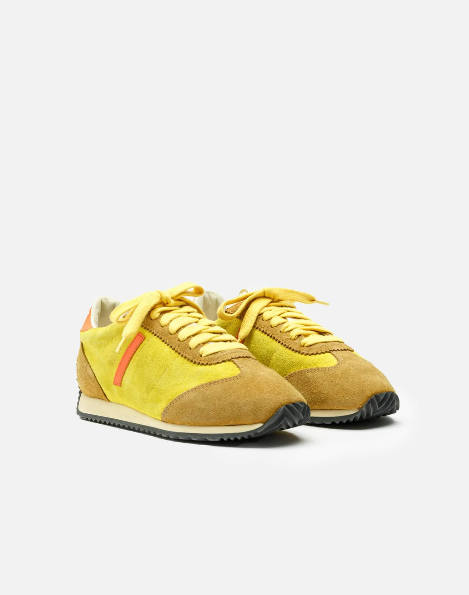 70s Runner Shoe - Lemon and Tan and Orange Suede 1