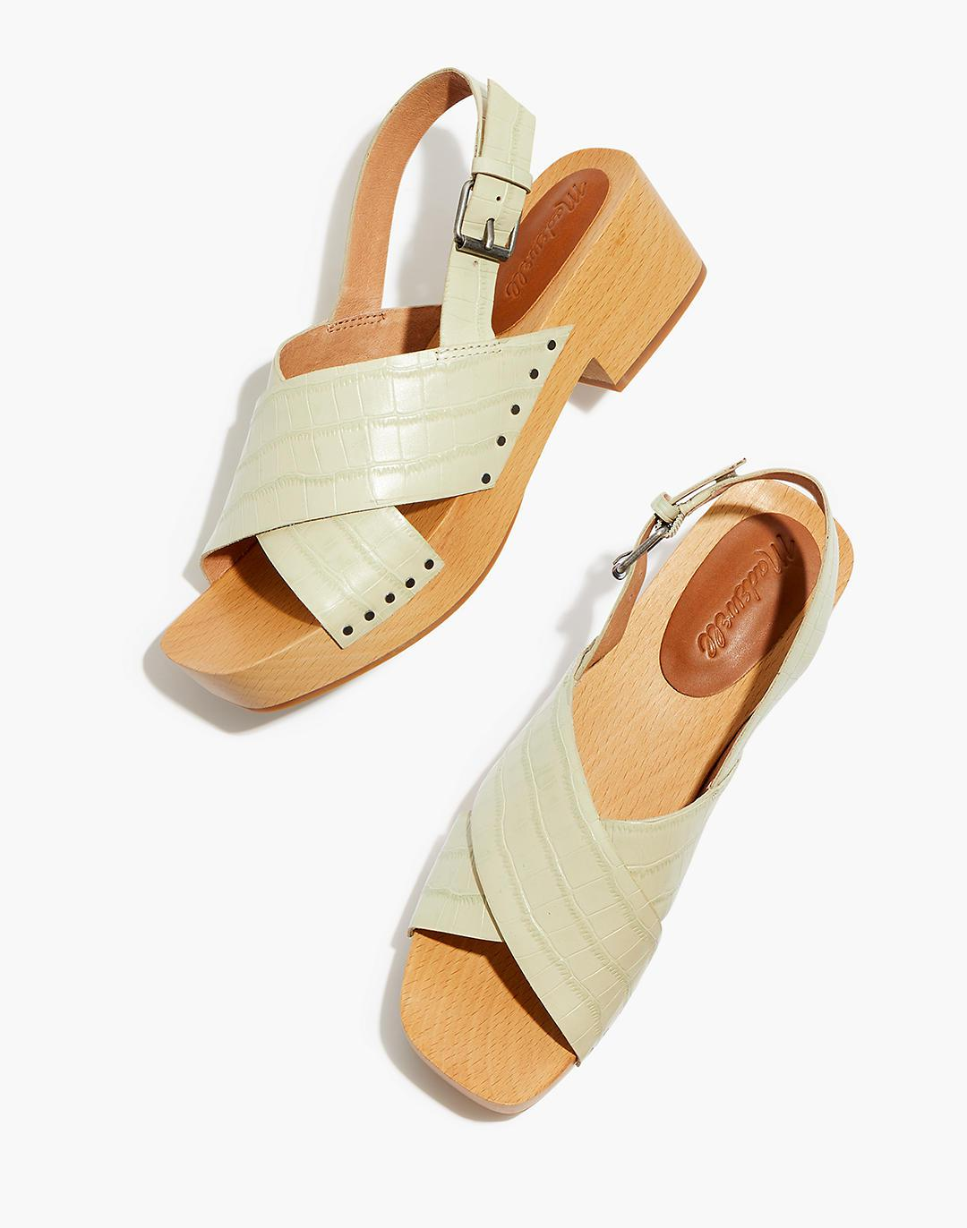 The Farrah Slingback Clog in Croc Embossed Leather