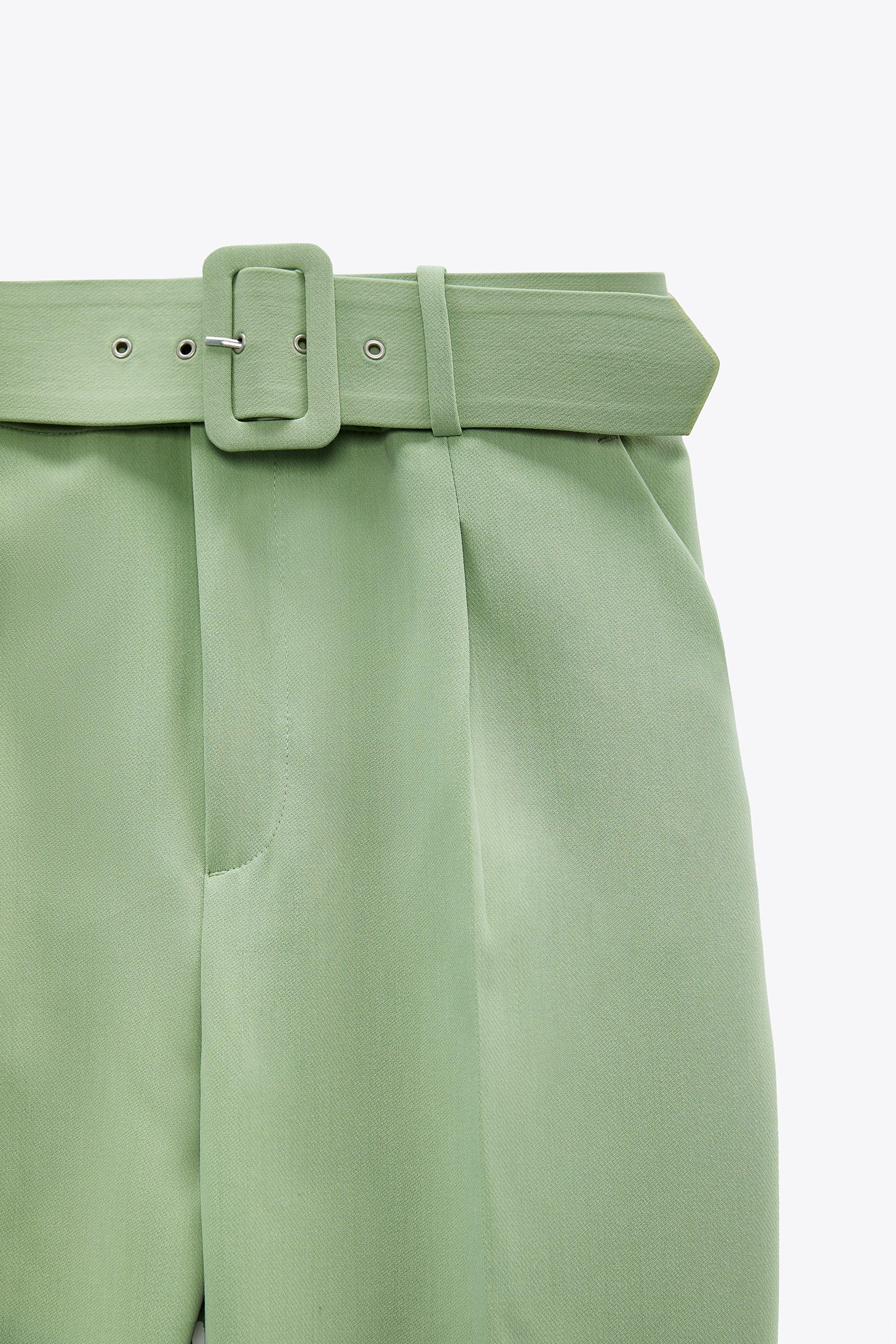 HIGH-WAISTED BELTED PANTS 4