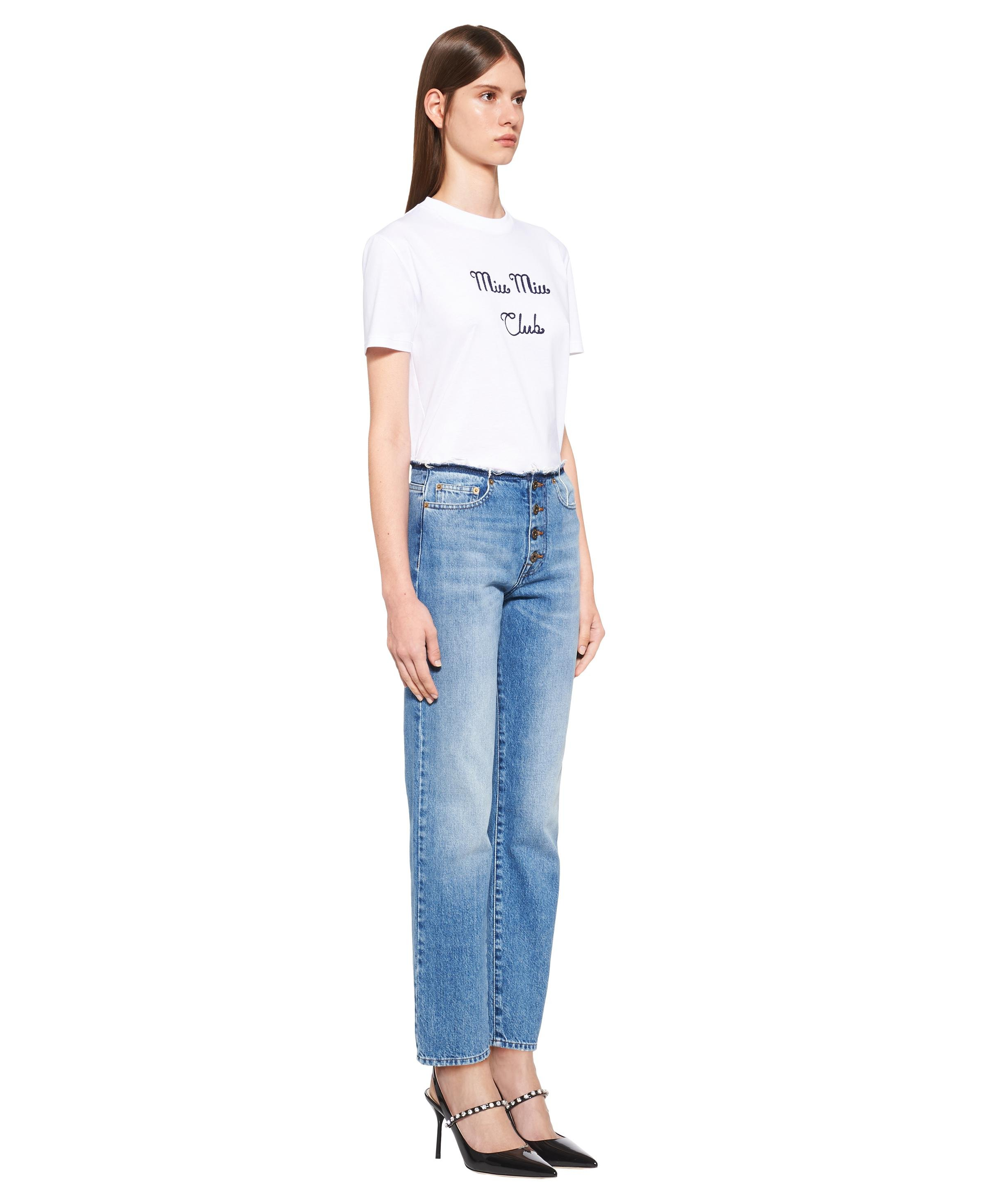 Embroidered Jersey T-shirt Women White 2