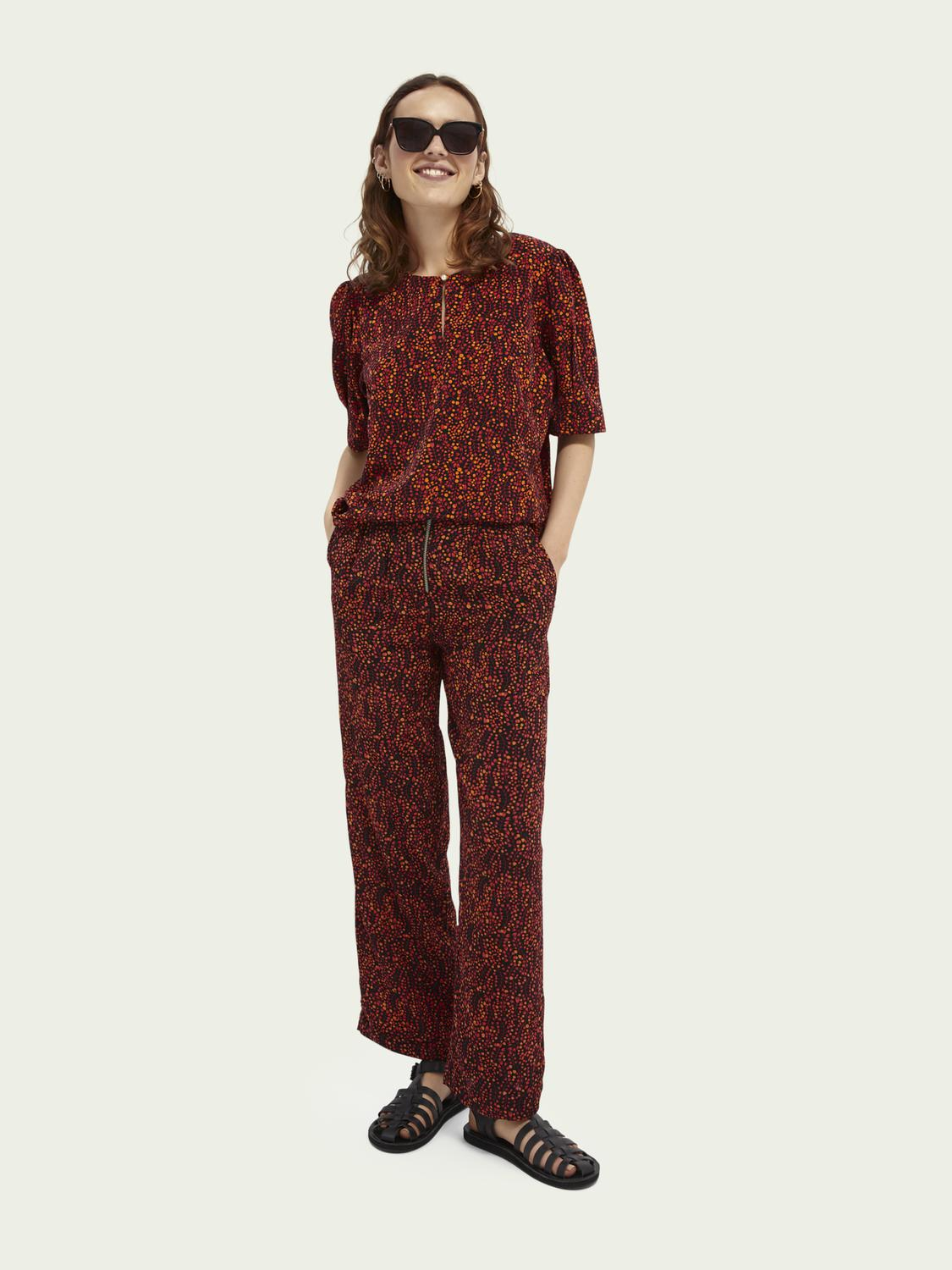 Printed mid-rise trousers 1