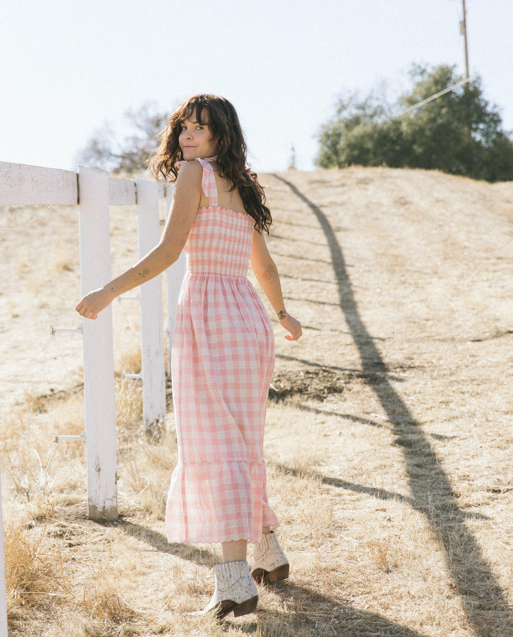 The Lagoon Dress. -- Pink with Cream Gingham 2