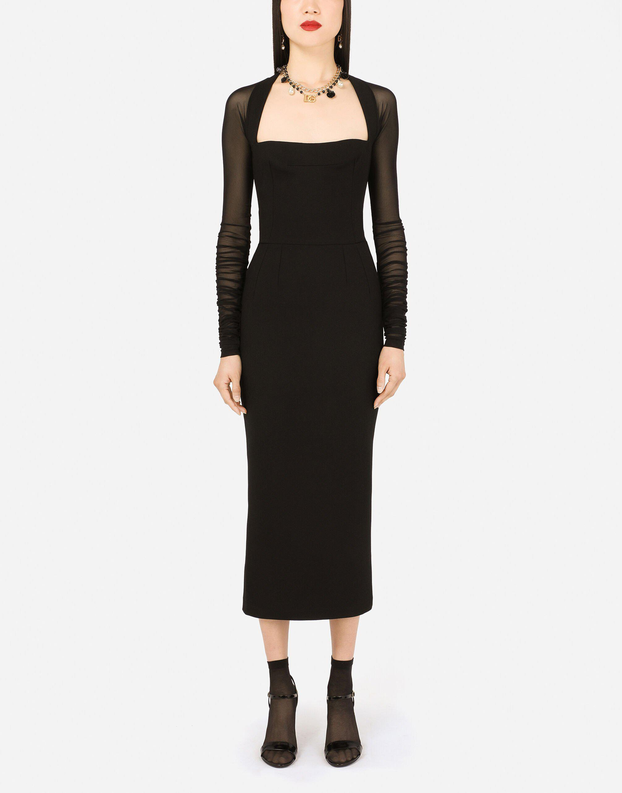 Sable calf-length dress with tulle sleeves