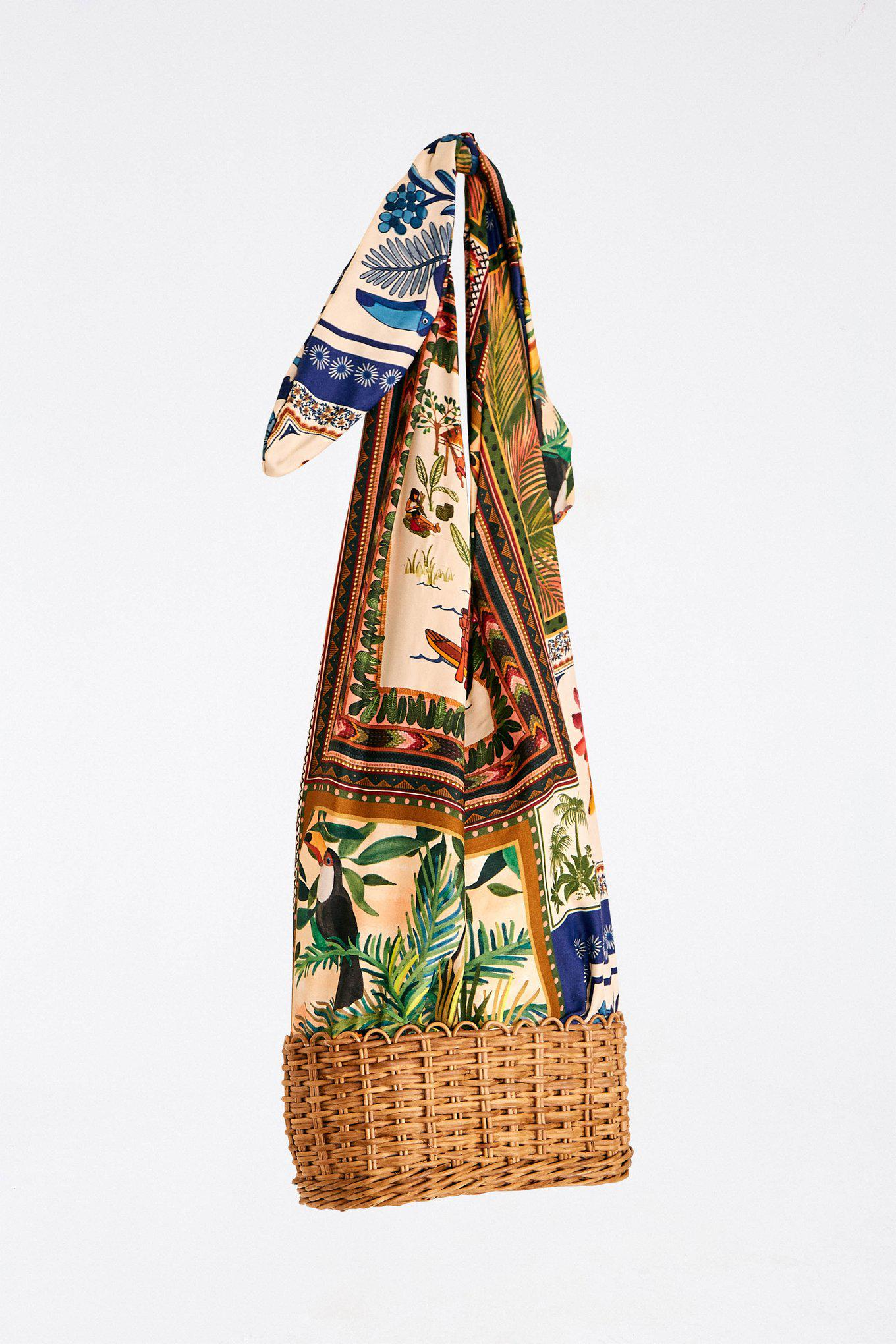 MIXED SCARVES STRAW BAG