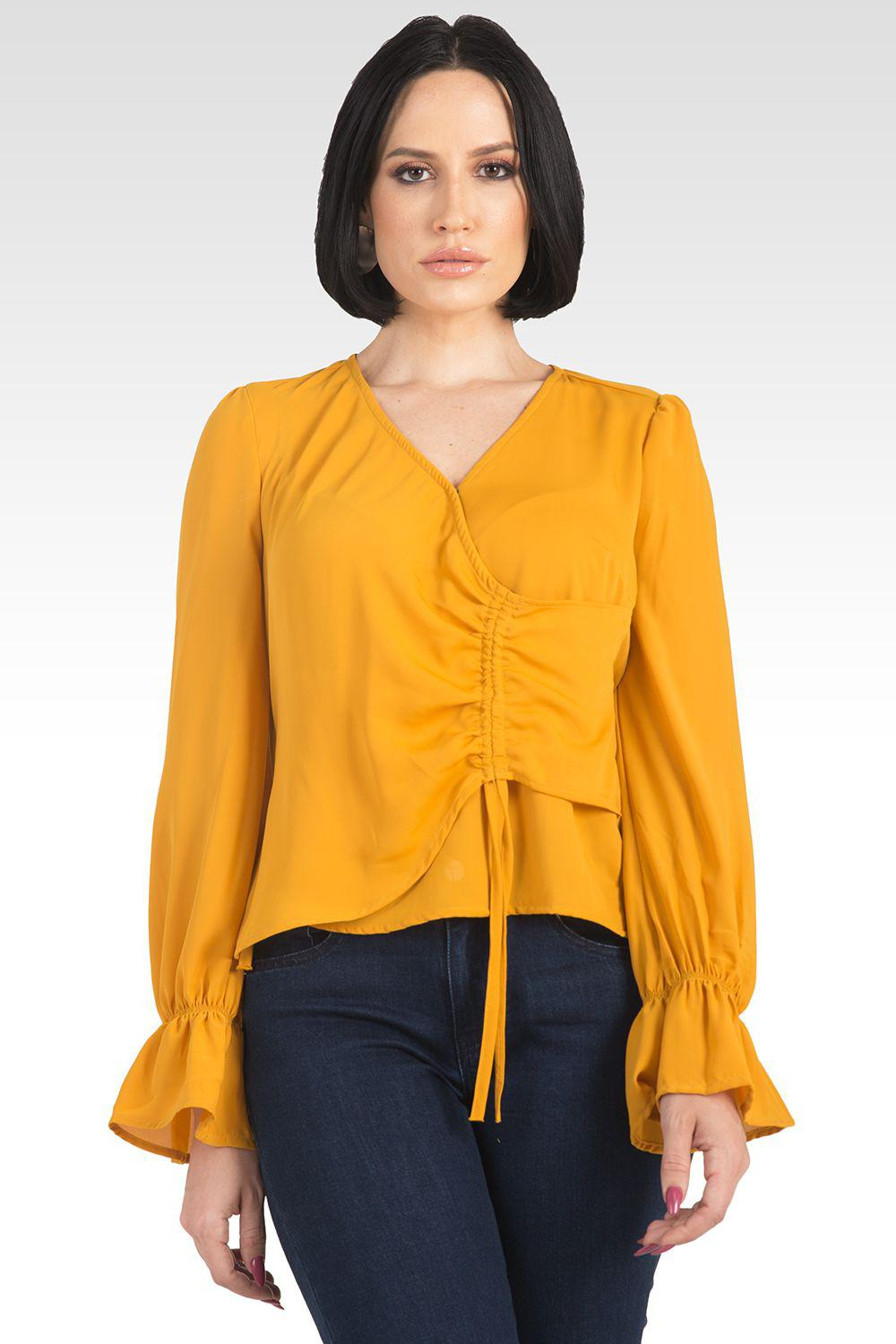 Vera Solid Tie Front Flute Sleeve Blouse - Ginger 0