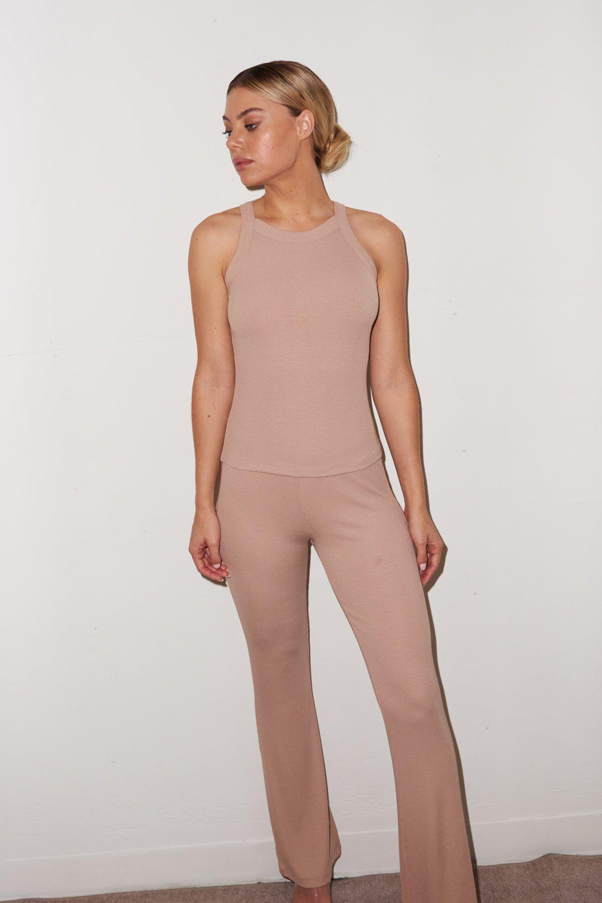 Ribbed Charlotte Pant - Nude 3