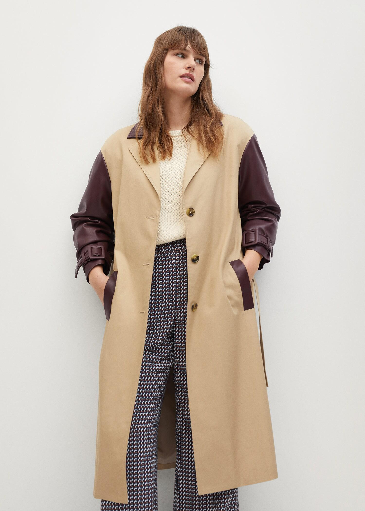Combined leather-effect trench coat 1