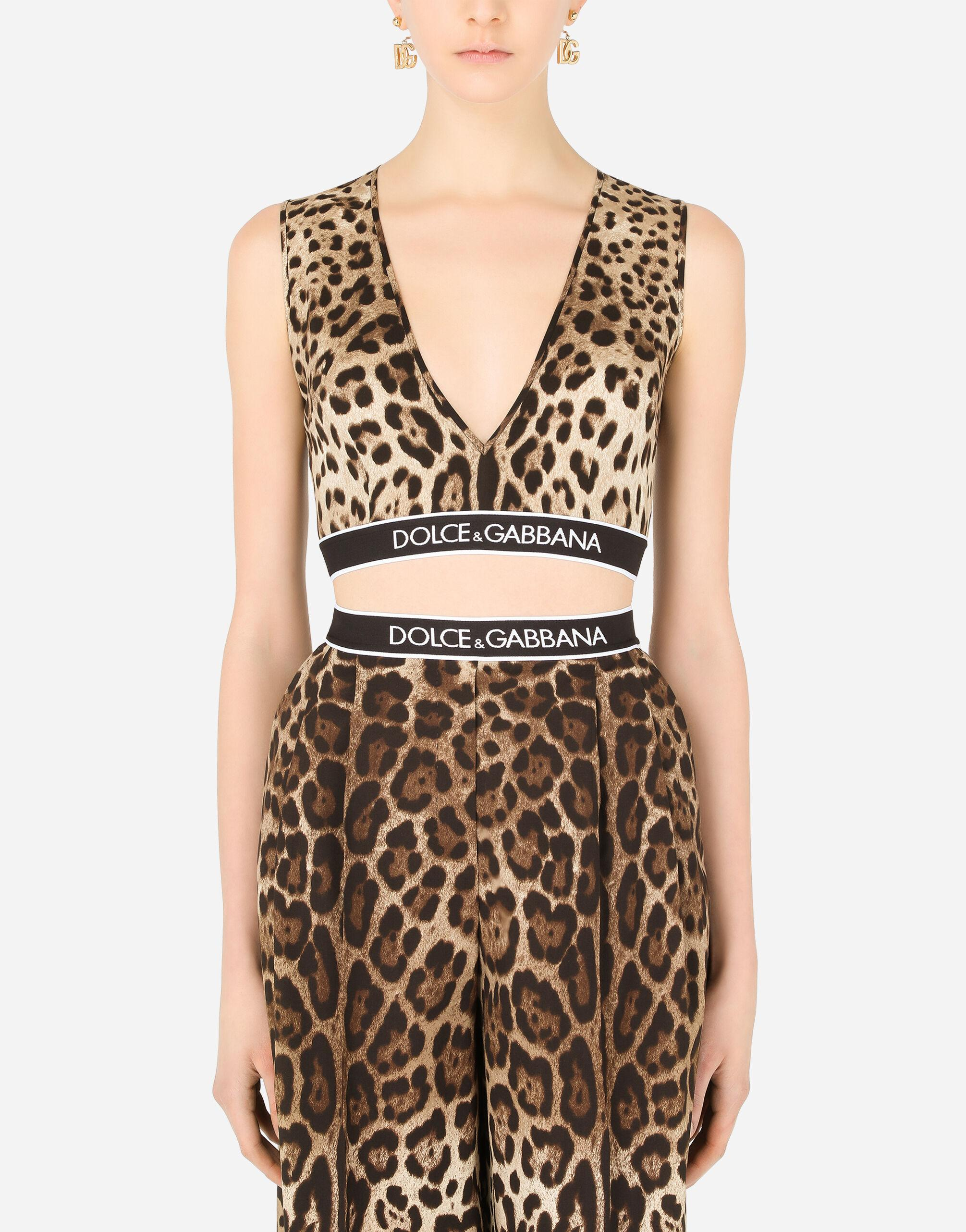 Leopard-print charmeuse top with branded elastic
