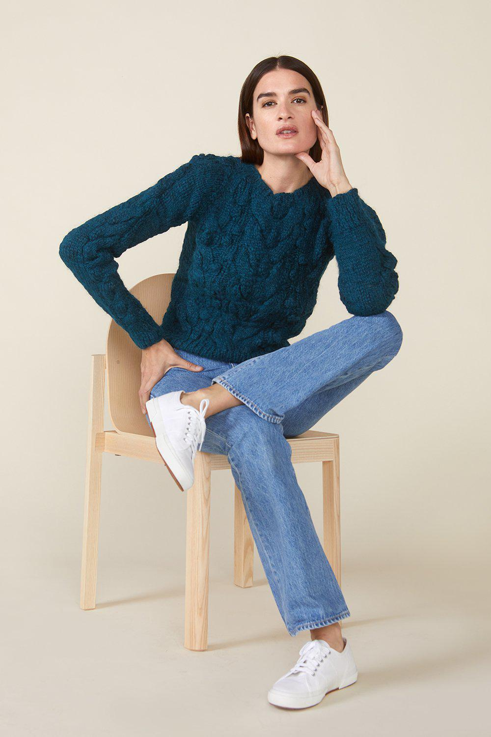 OSSIE SWEATER, TEAL 2