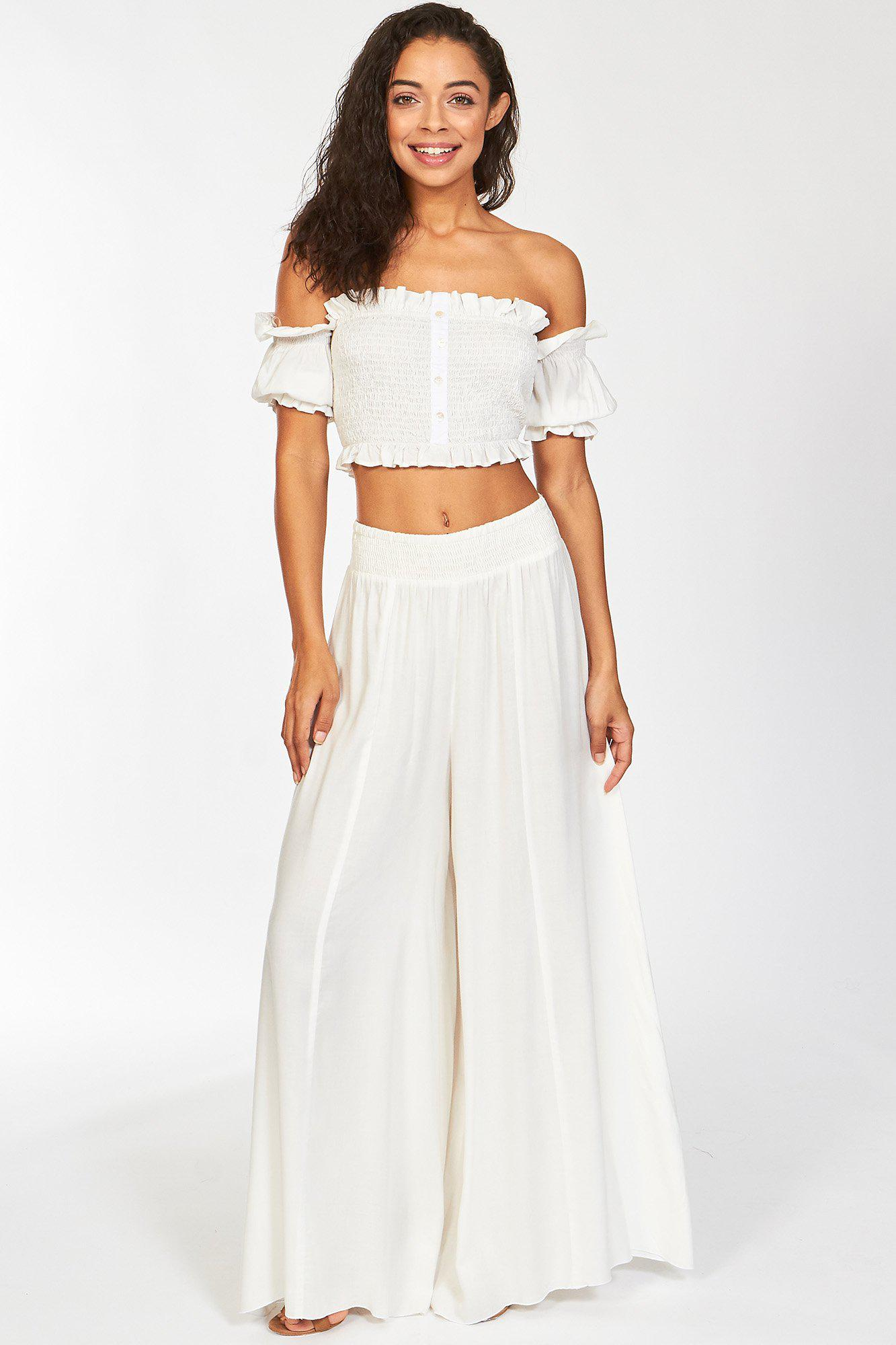 White True Karma Off The Shoulder Crop Top and Pants