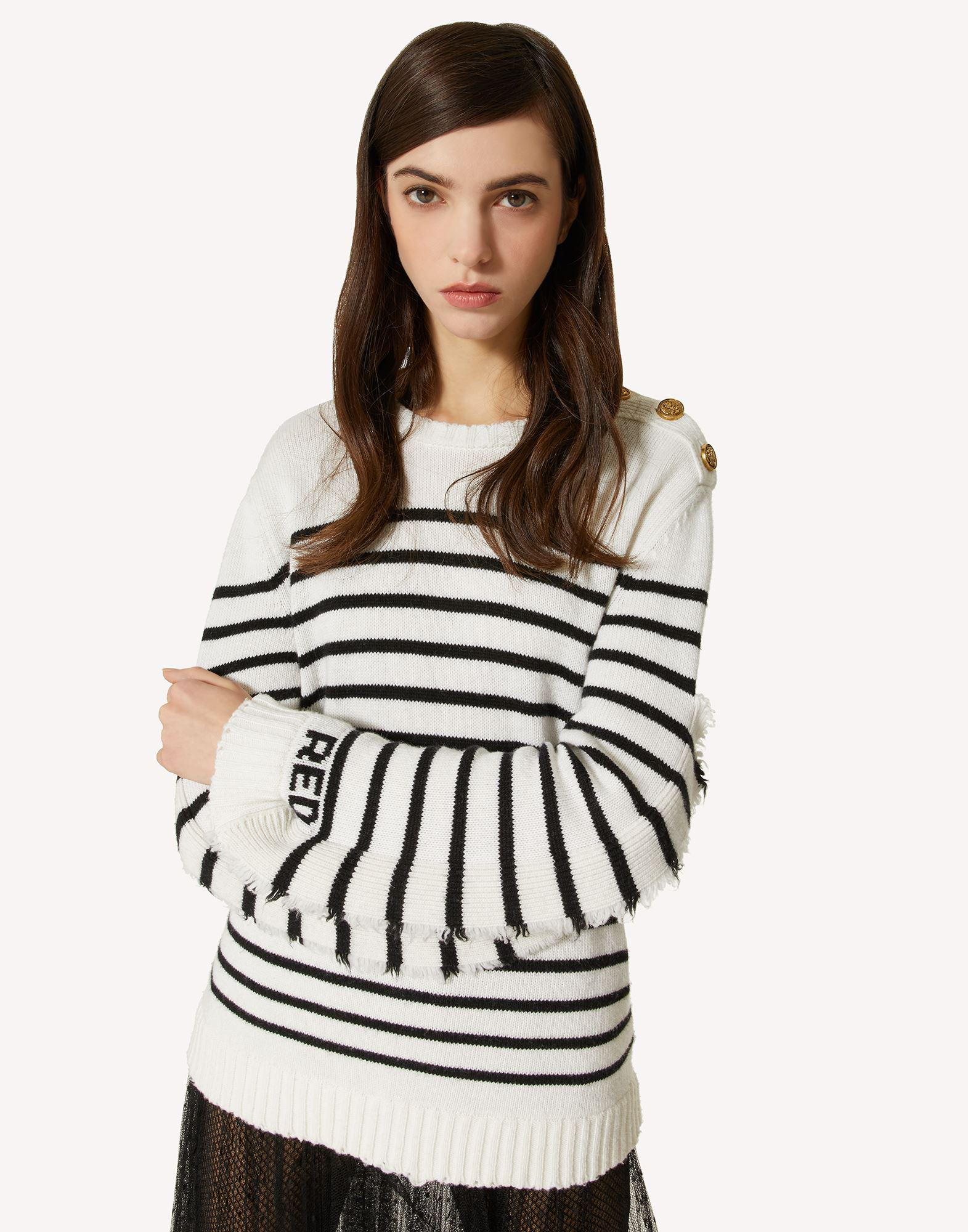 STRIPED WOOL-BLEND SWEATER WITH RUFFLE DETAIL 3