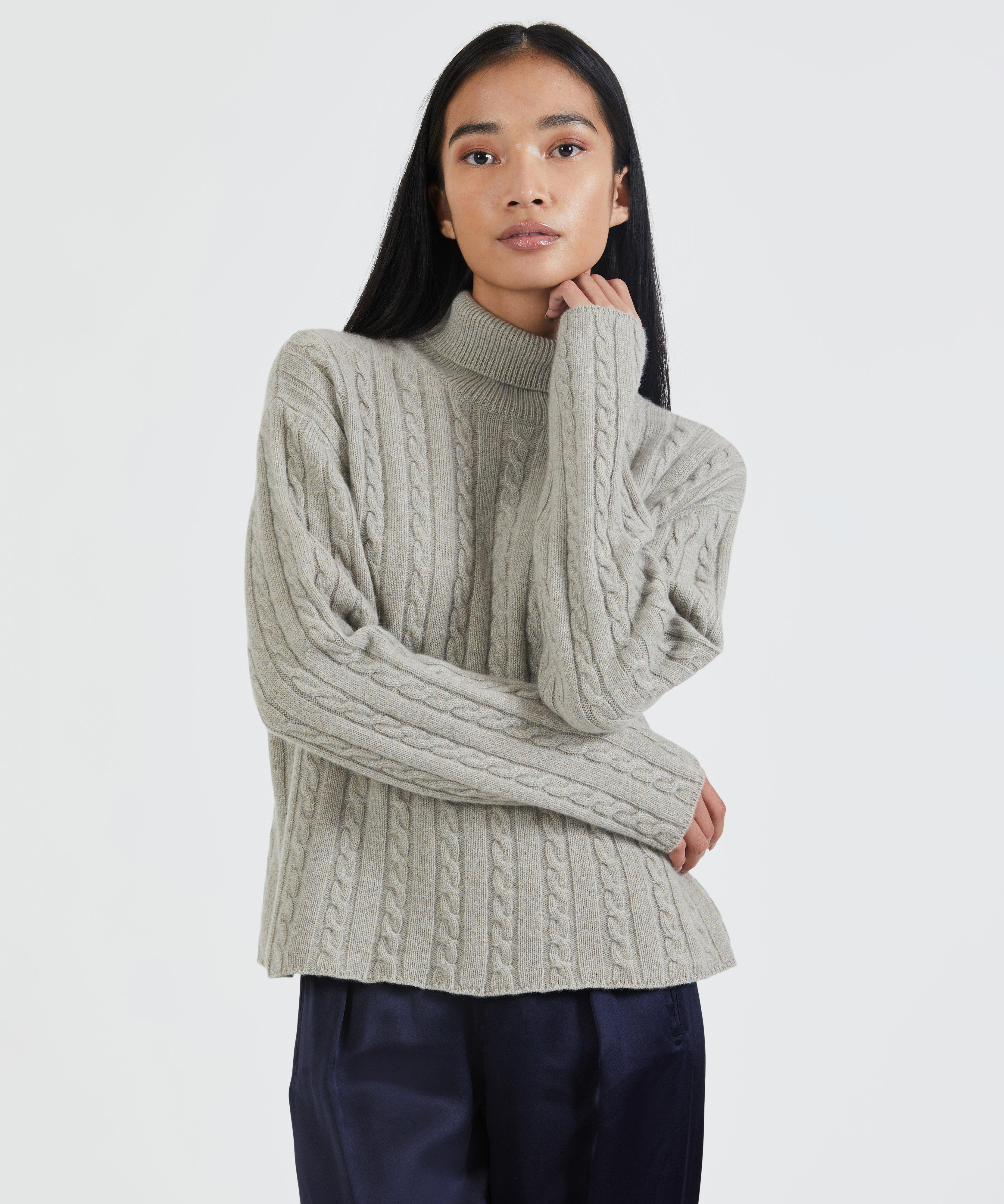 Luxe Wool Cashmere Cable Knit Turtleneck Sweater - Pumice