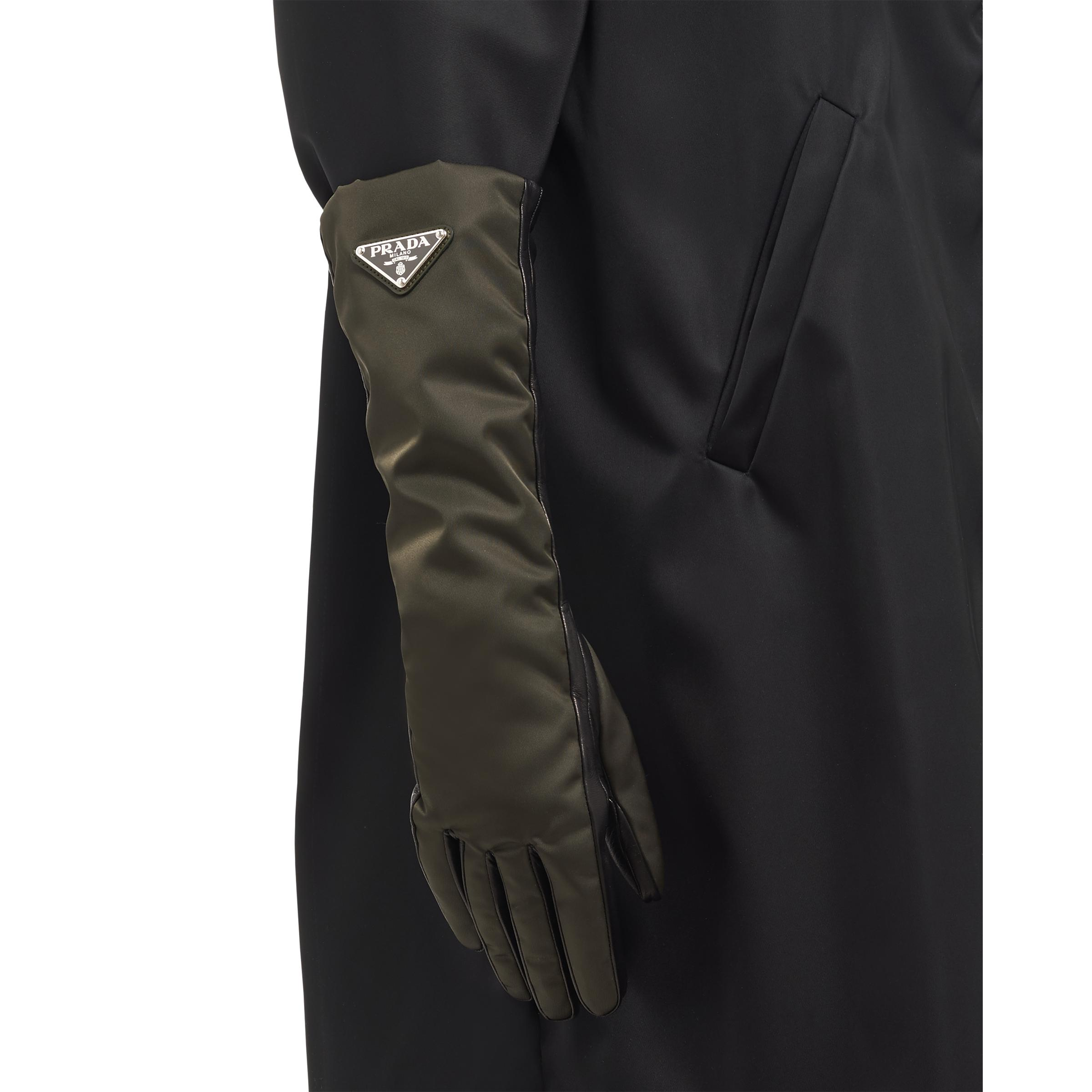 Nylon And Nappa Leather Gloves Women Camouflage/black 1