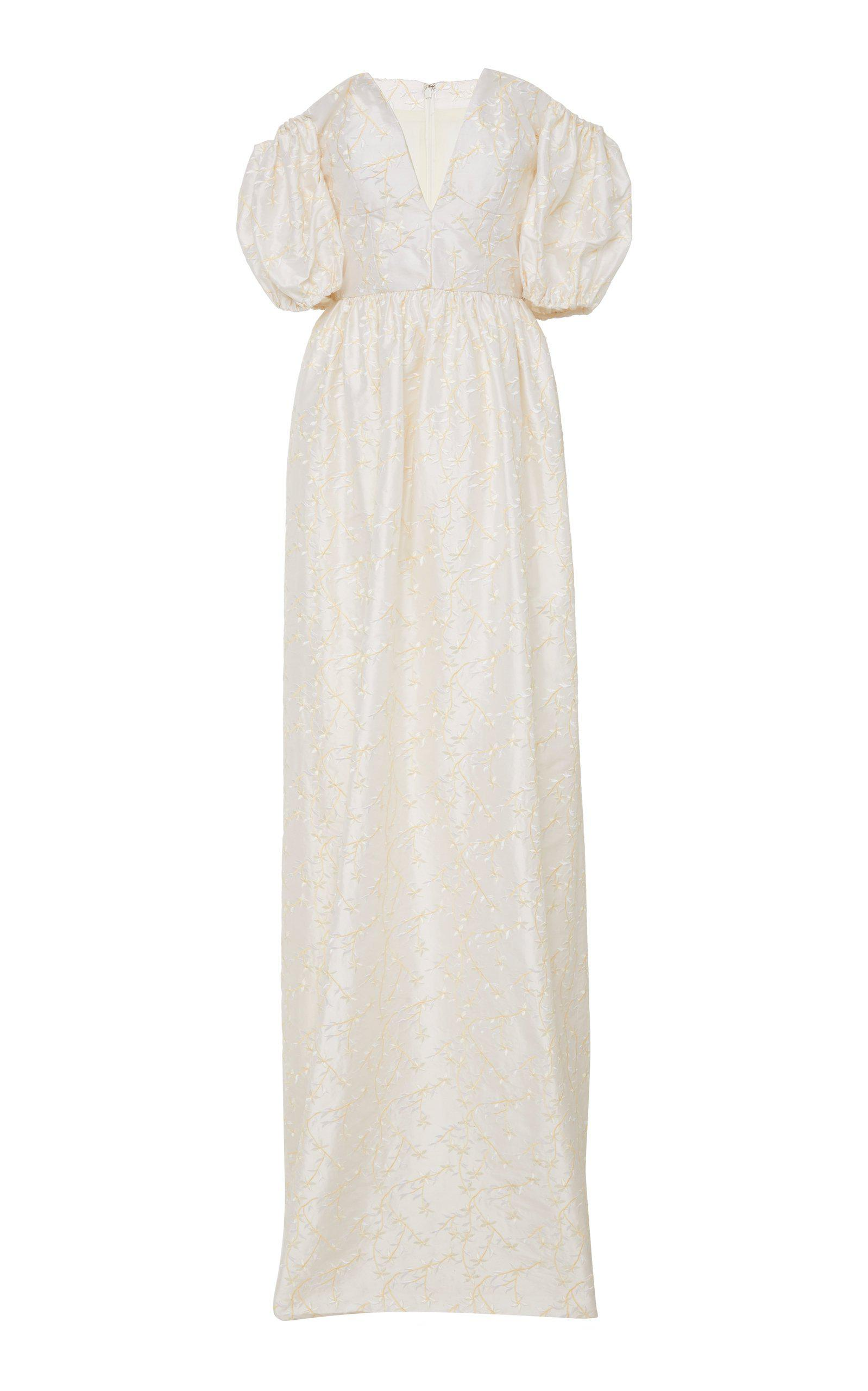 Archive Sale: White Floral Embroidered Silk Gown 1