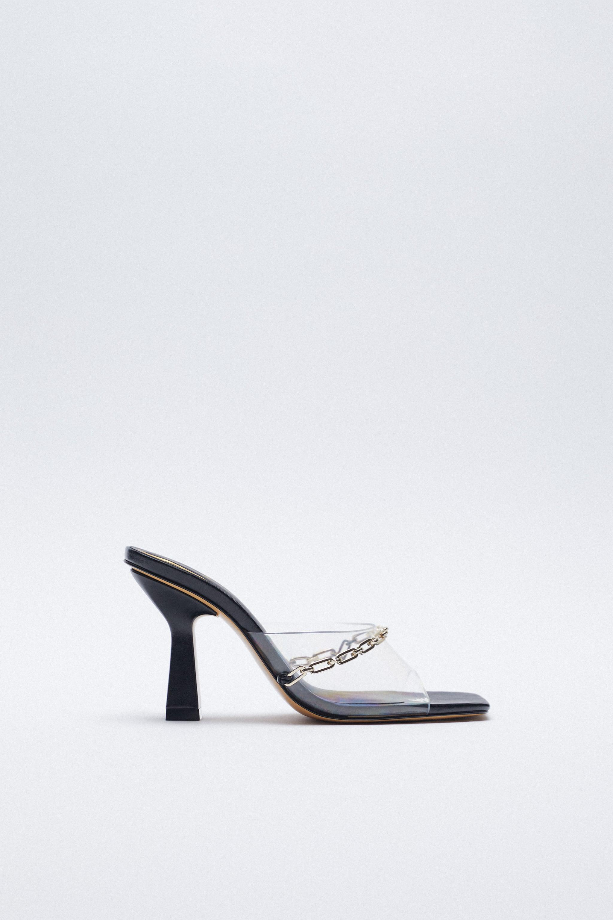 HEELED VINYL MULES WITH CHAIN