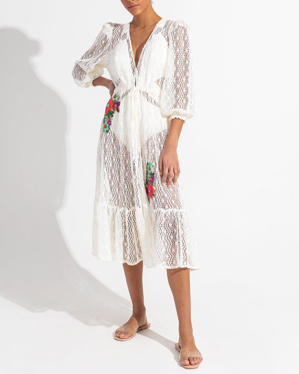 Embroidered Crochet Coverup Dress 3