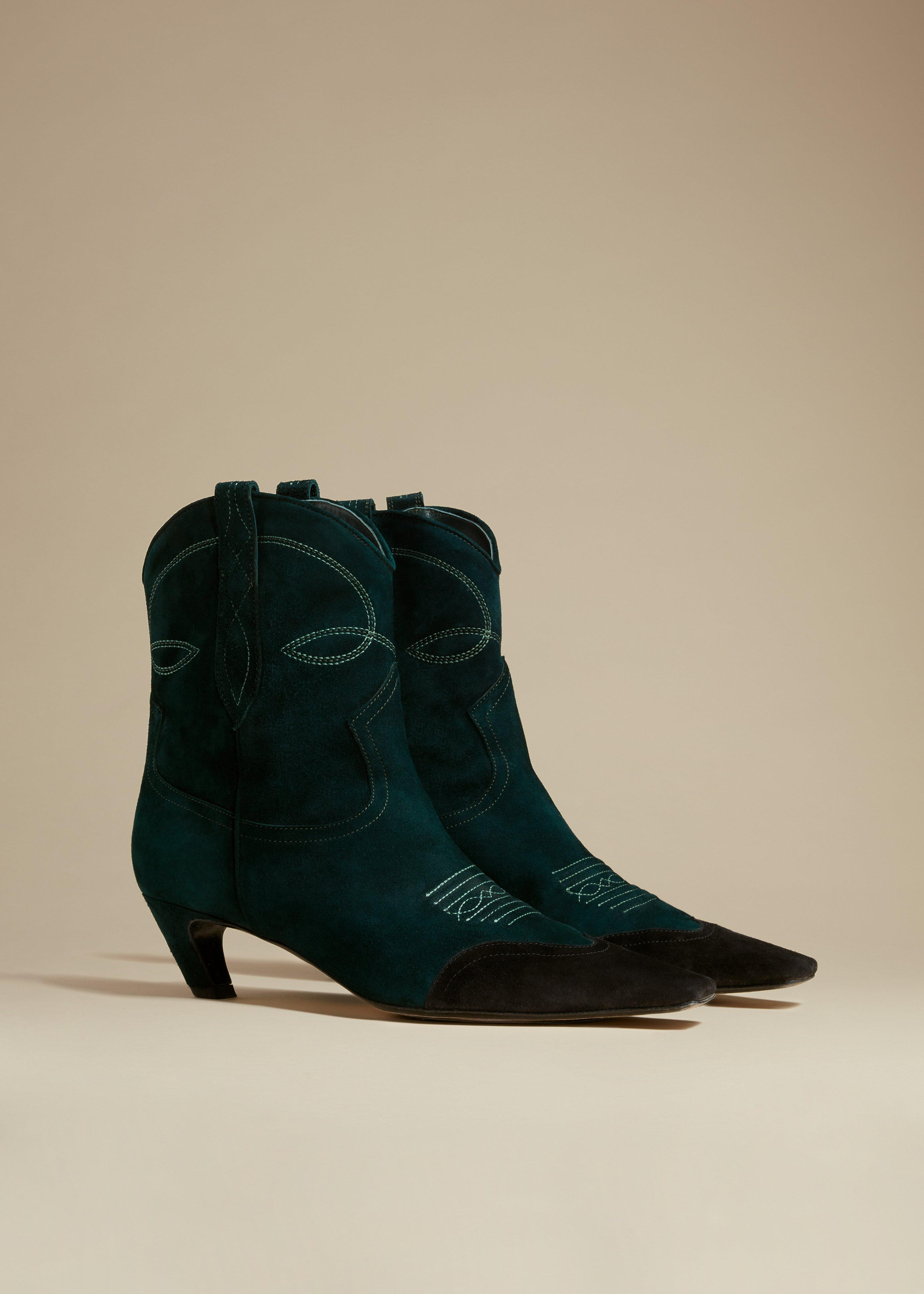 The Dallas Ankle Boot in Hunter Green Suede 1