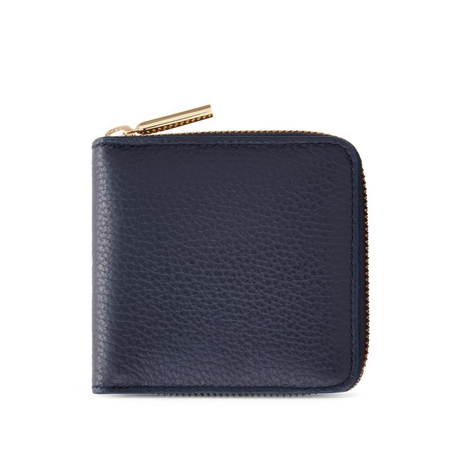 Women's Small Classic Zip Around Wallet in Navy | Pebbled Leather by Cuyana