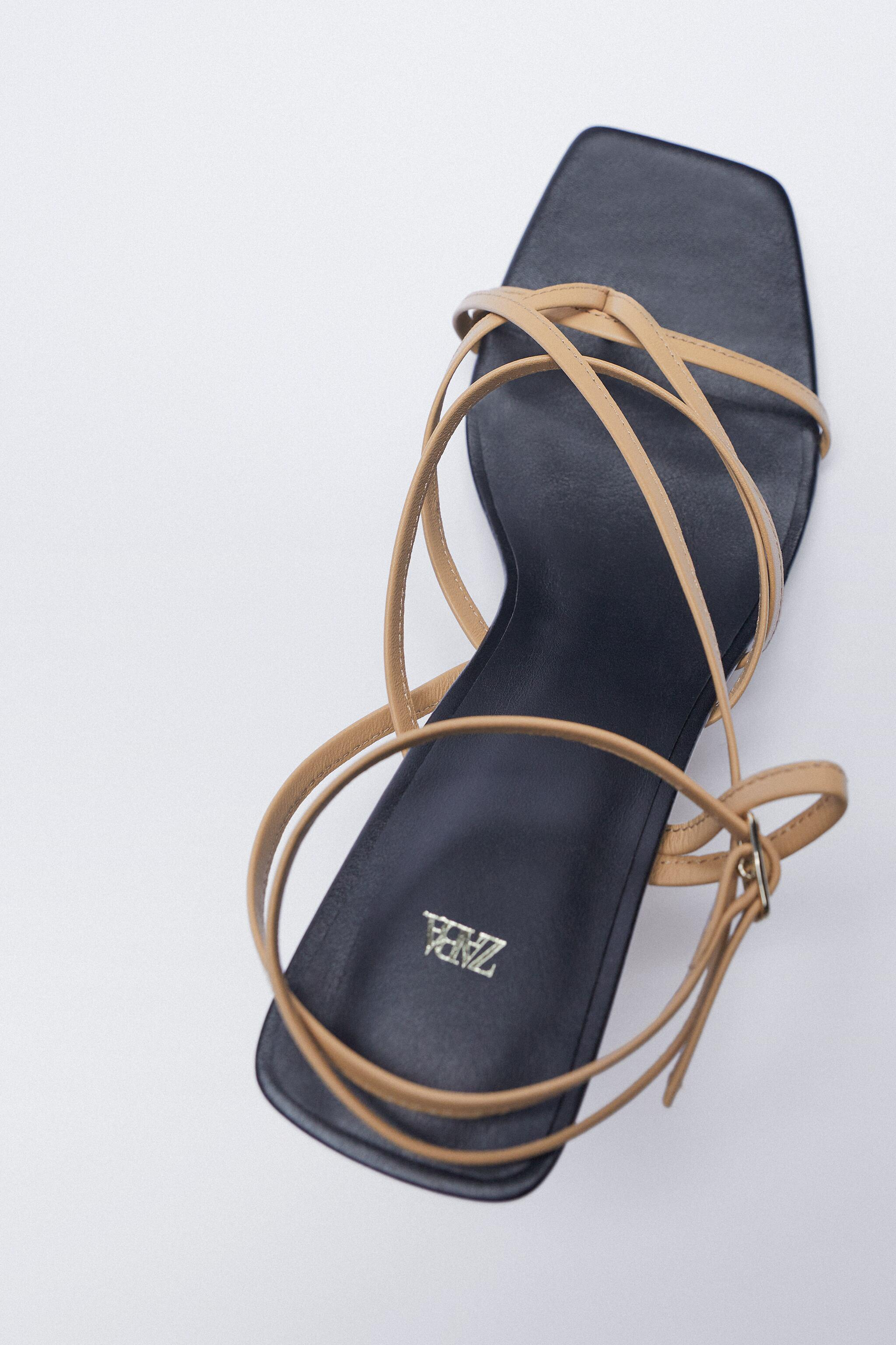 LEATHER HIGH HEELED STRAPPY SANDALS 6