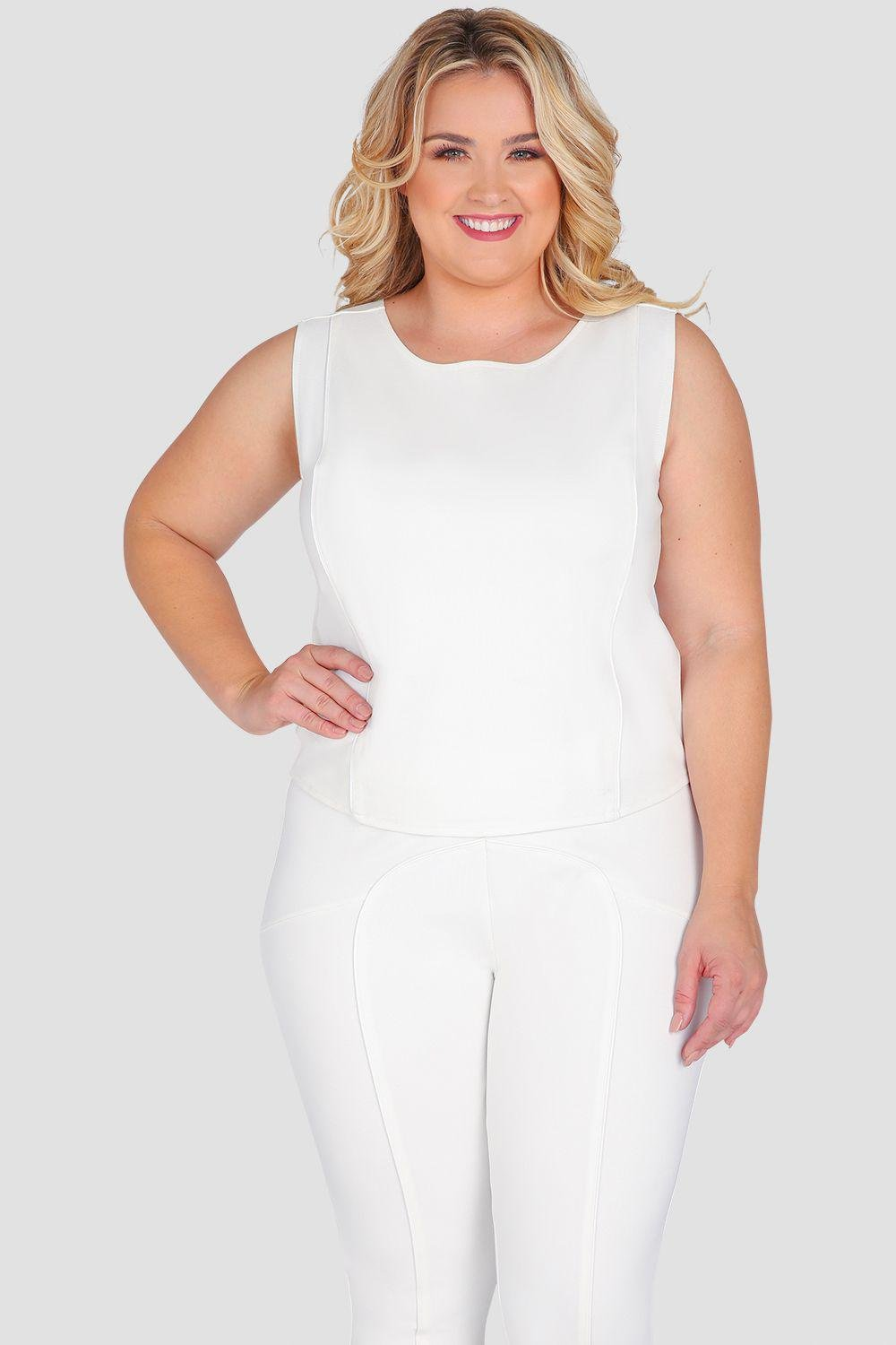 Plus Size Billy Cropped Sleeveless Skimmer Top White Ponte