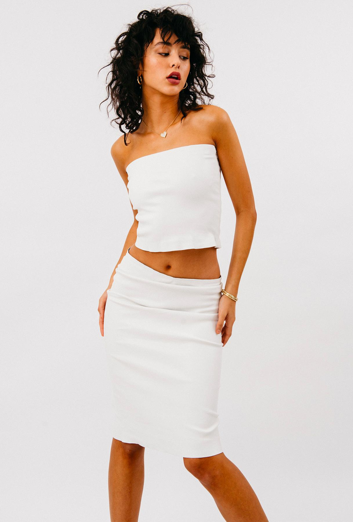 White Leather Pencil Skirt 1