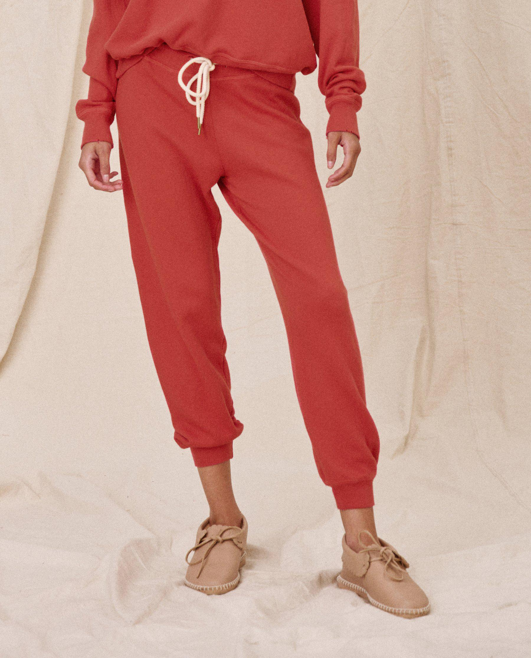 The Cropped Sweatpant. Solid -- Vintage Poppy