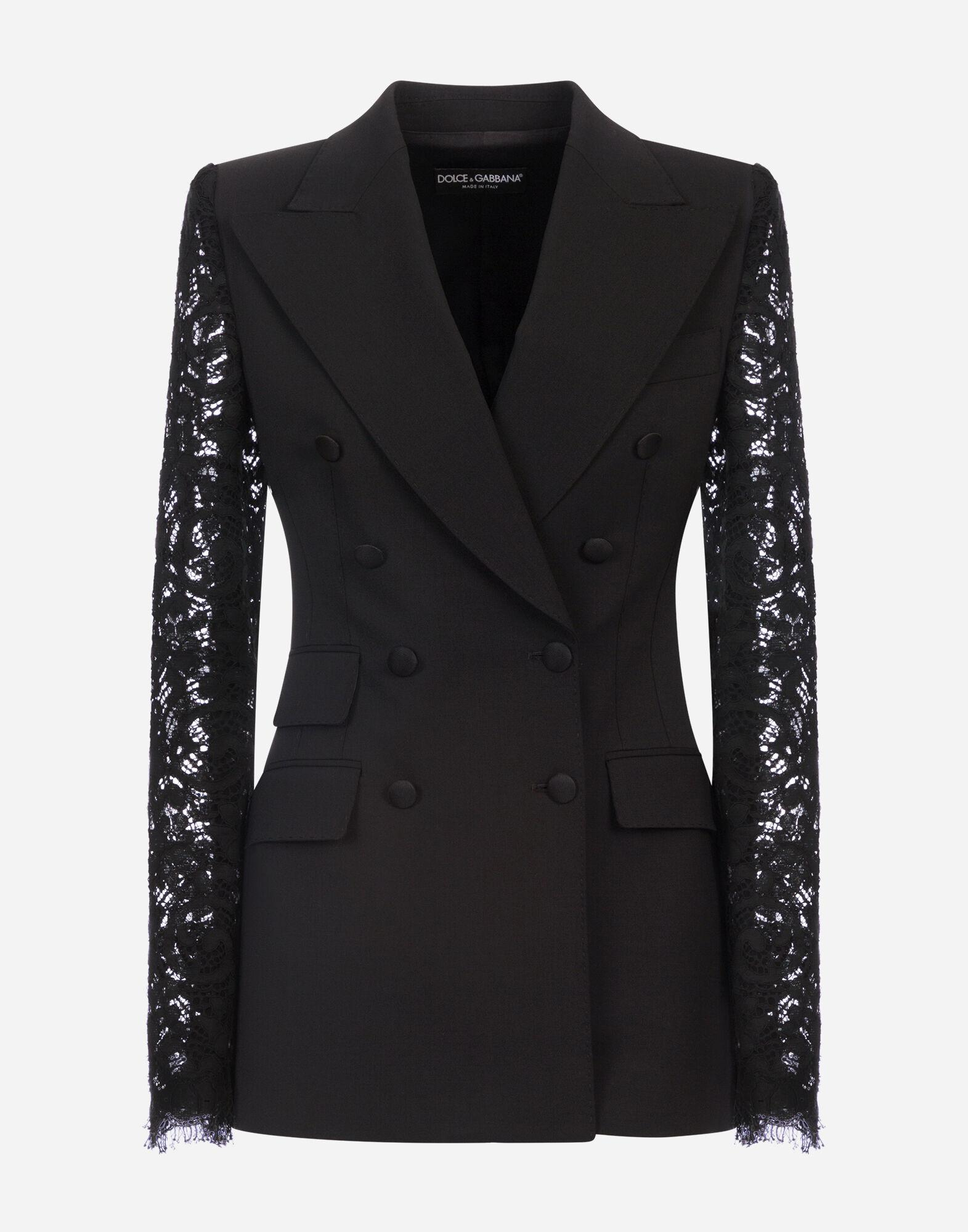 Double-breasted woolen blazer with lace sleeves 4