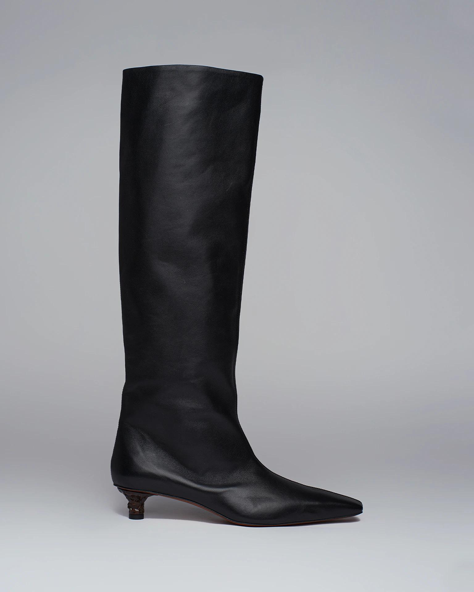 PIPPA - Leather knee boots - Black