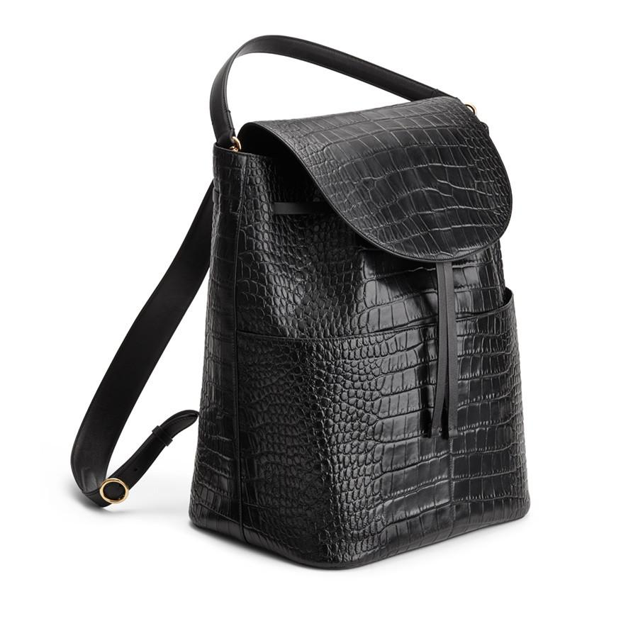 Women's Large Leather Backpack in Textured Black | Croc-Embossed by Cuyana