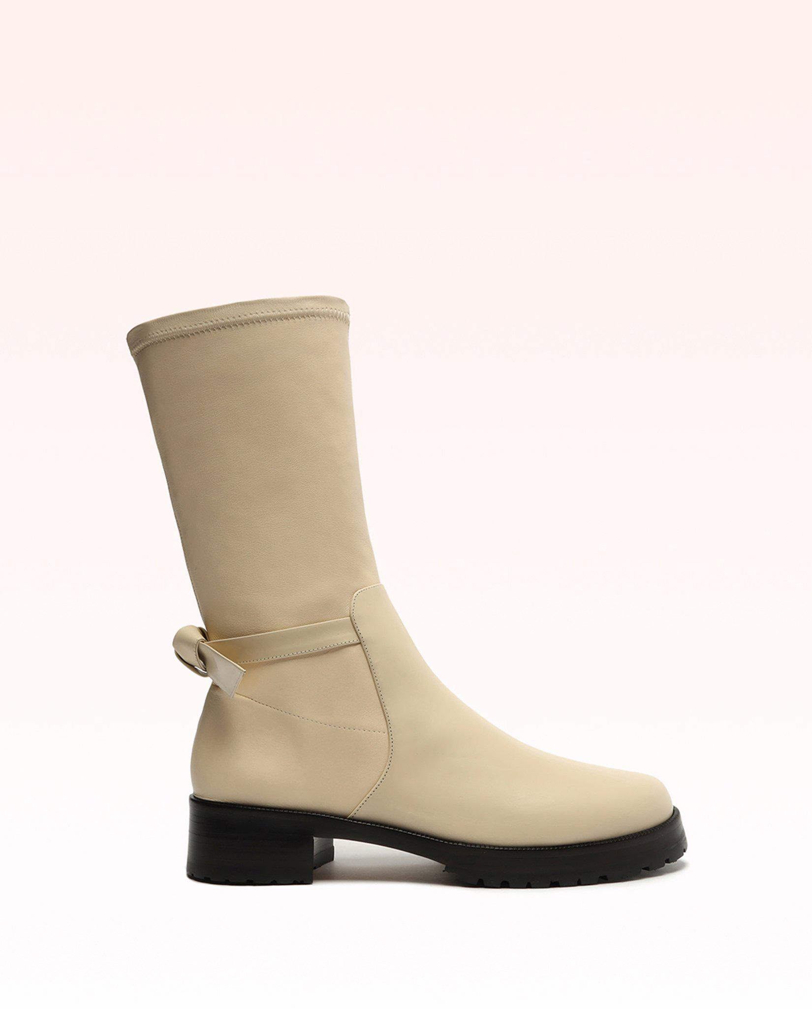 Clarita Motorcycle Stretch Leather Bootie