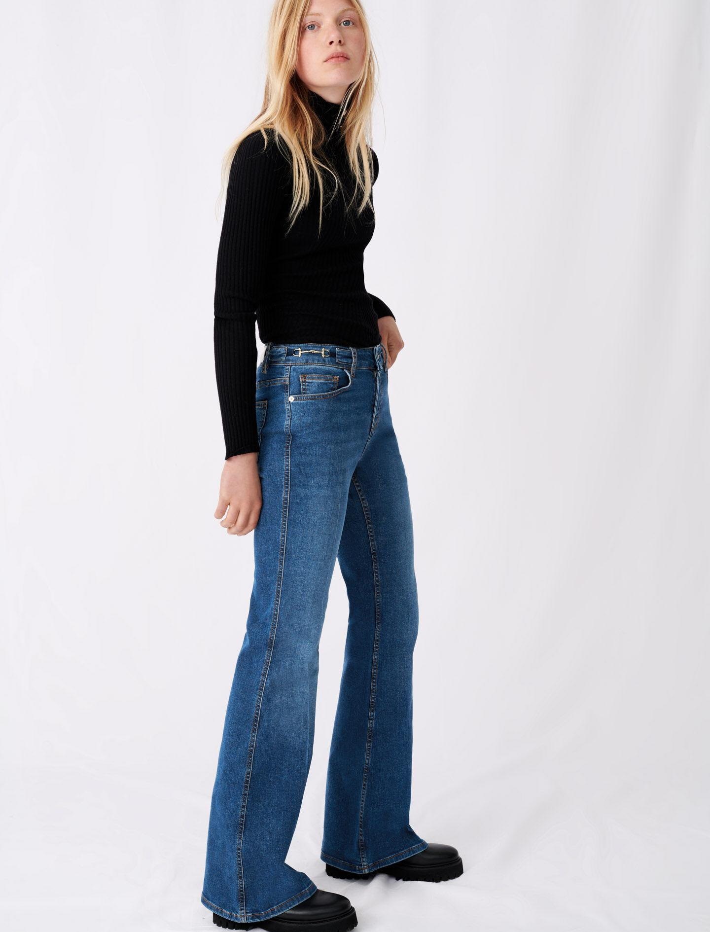 FLARED JEANS WITH HORSEBIT DETAIL