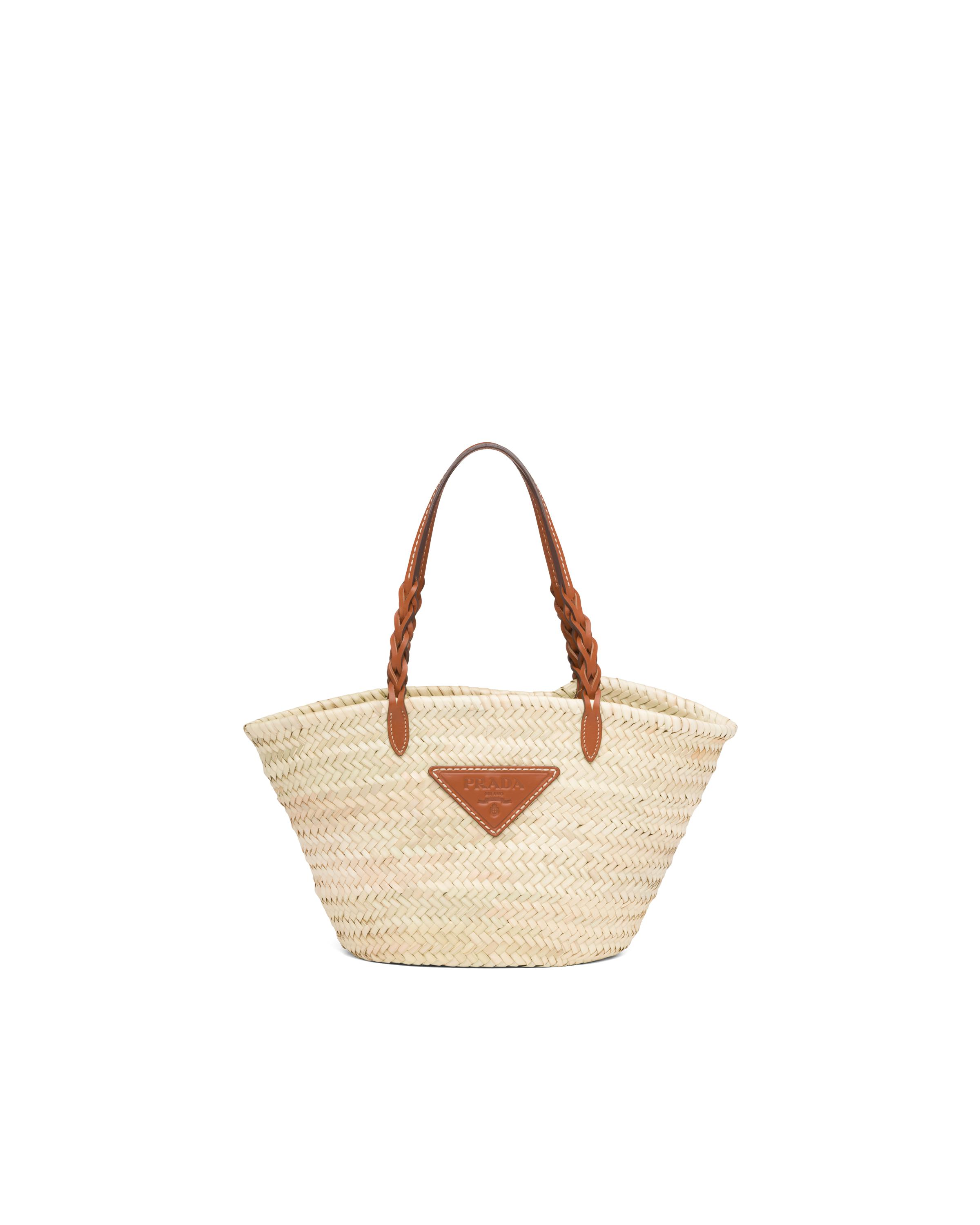 Woven Palm And Leather Tote Women Beige/cognac 7