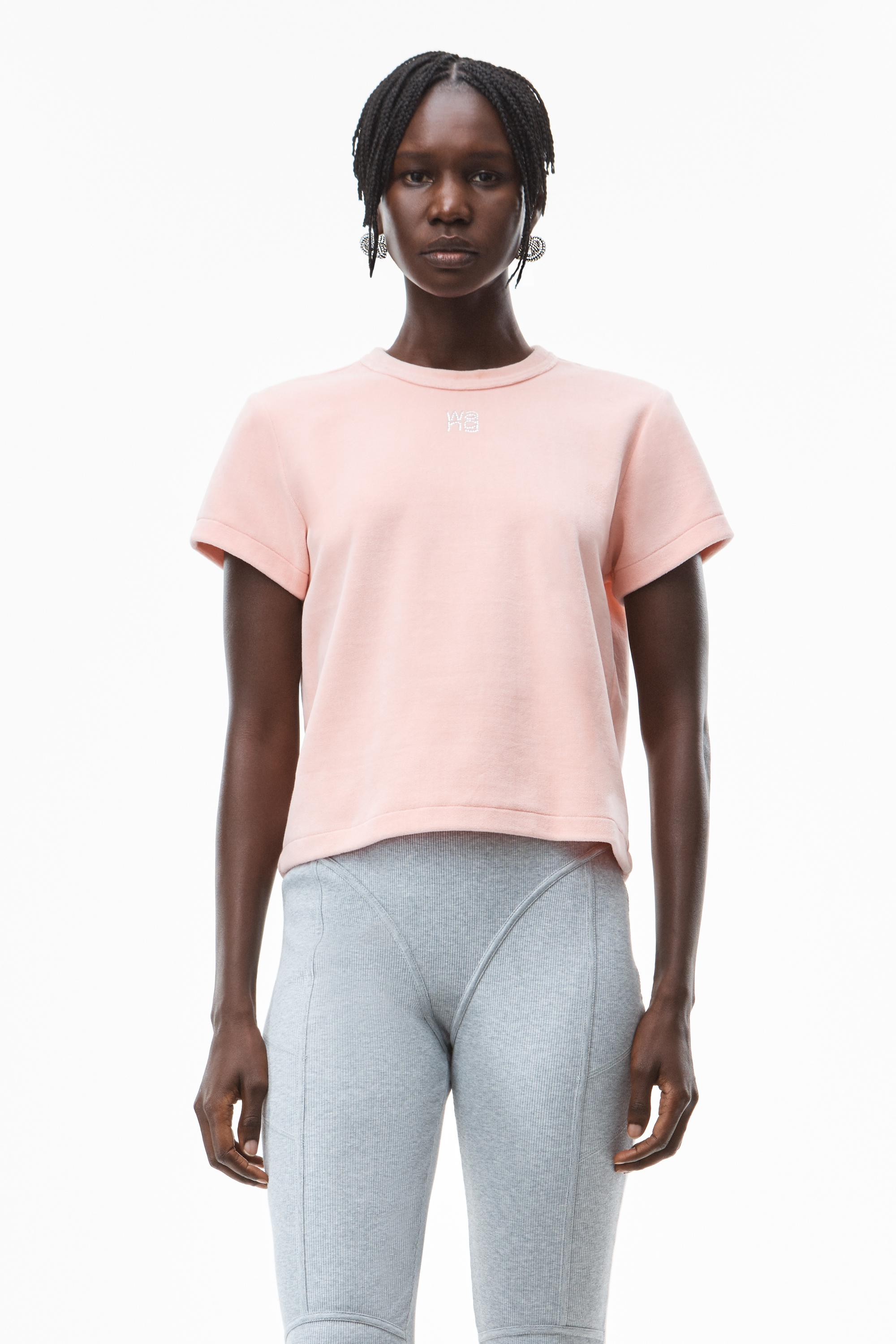 crystal logo baby tee in soft velour